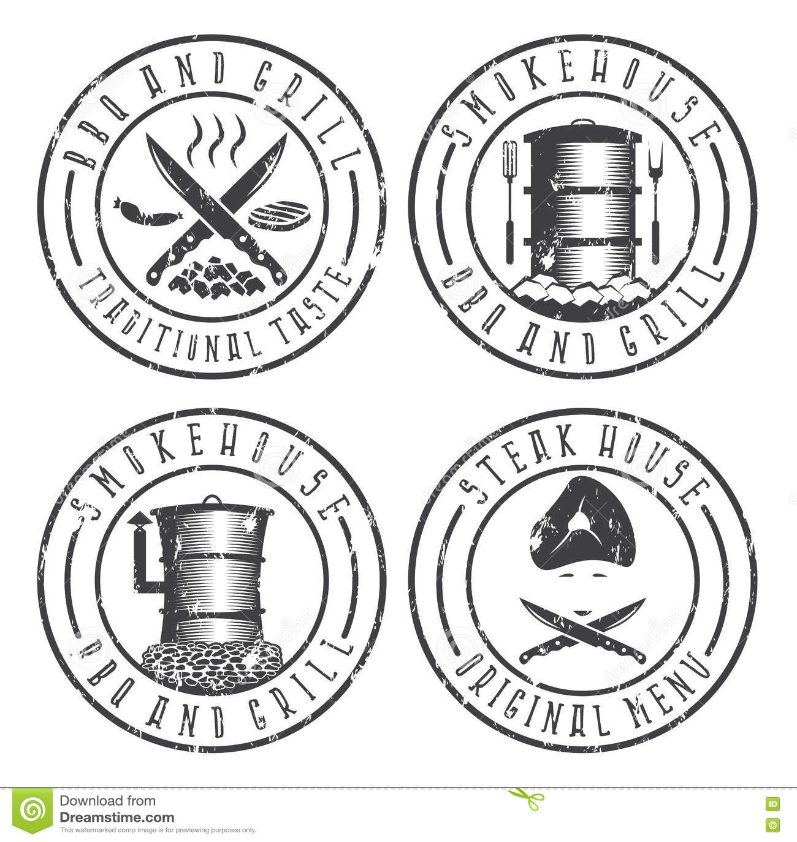 Vector Illustration Grunge Set Of Bbq Steakhouse And