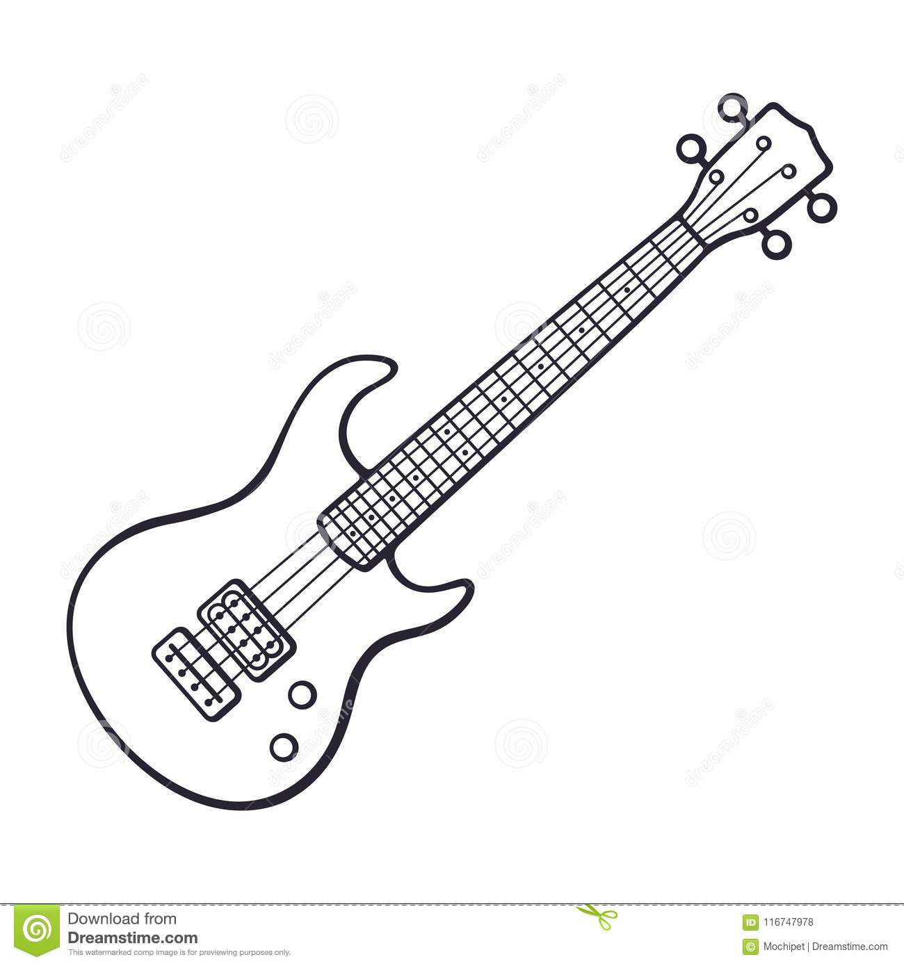 Doodle Of Rock Electro Or Bass Guitar Stock Vector