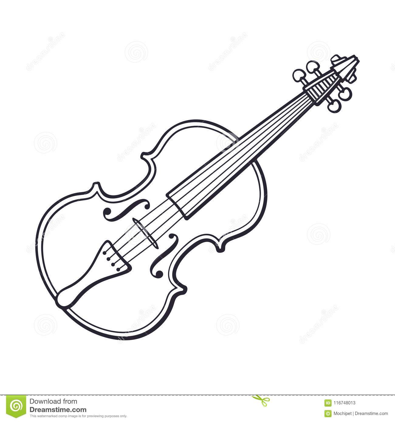 Doodle Of Classic Violin Without A Bow Stock Vector