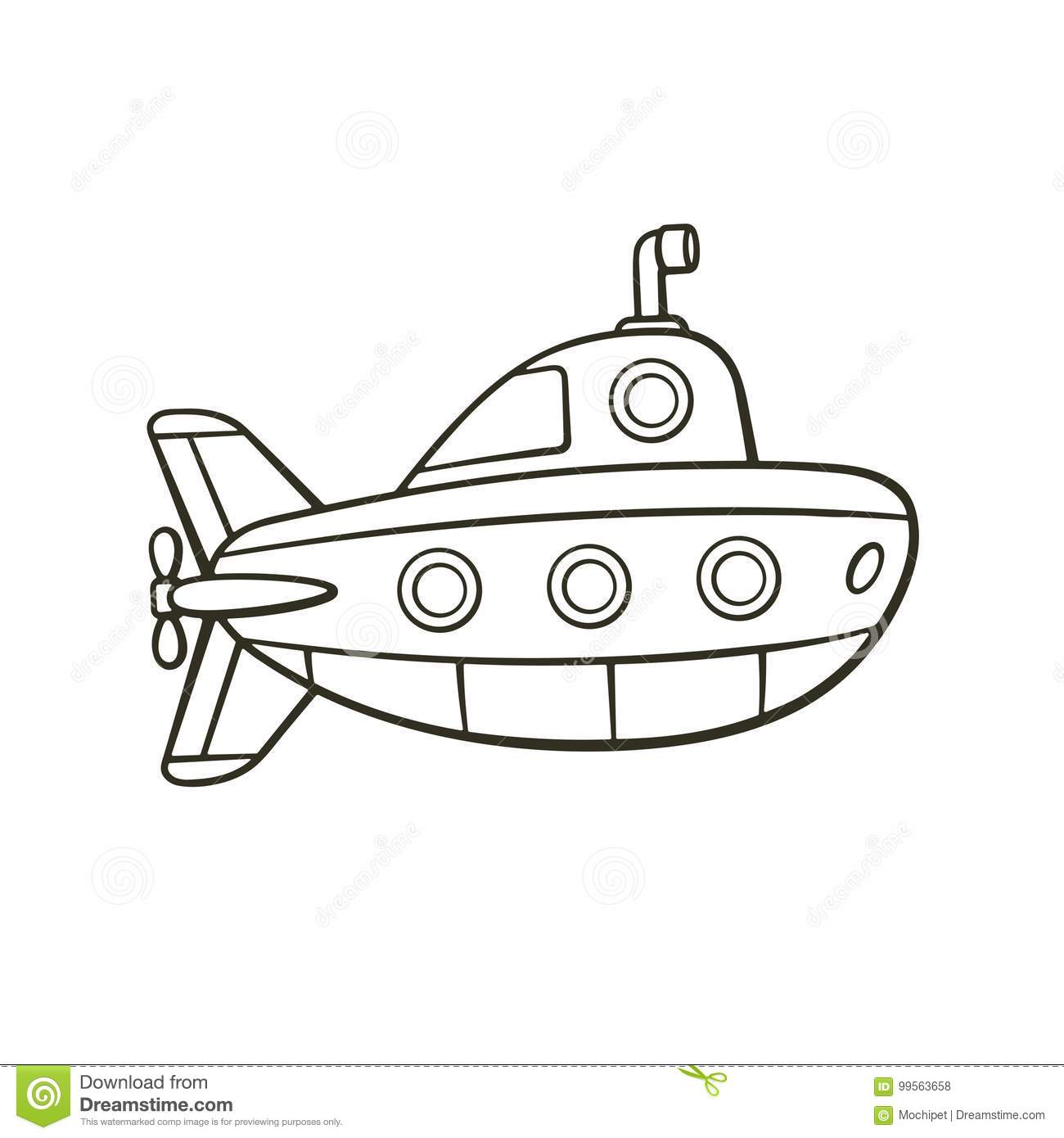 Doodle Submarine Vector Vector Illustration