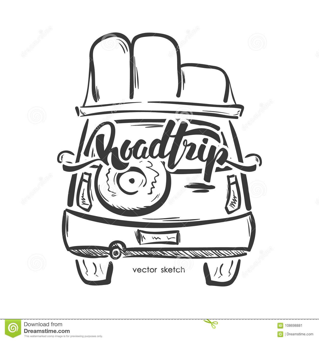 Vector Illustration Hand Drawn Emblem With Travel Car And