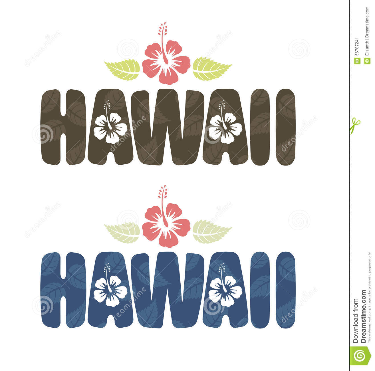 Vector Illustration Of Hawaii Word In Vintage Colors Stock Vector