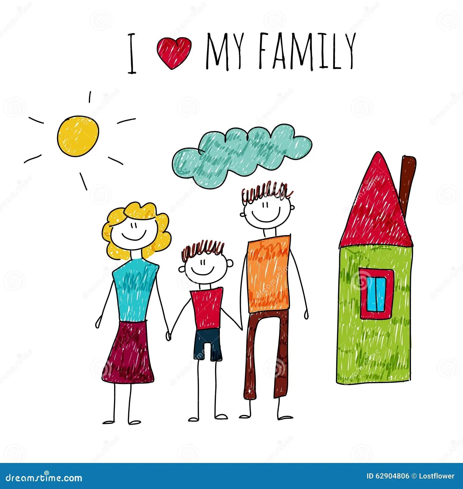 Vector Illustration I Love My Family Stock Vector