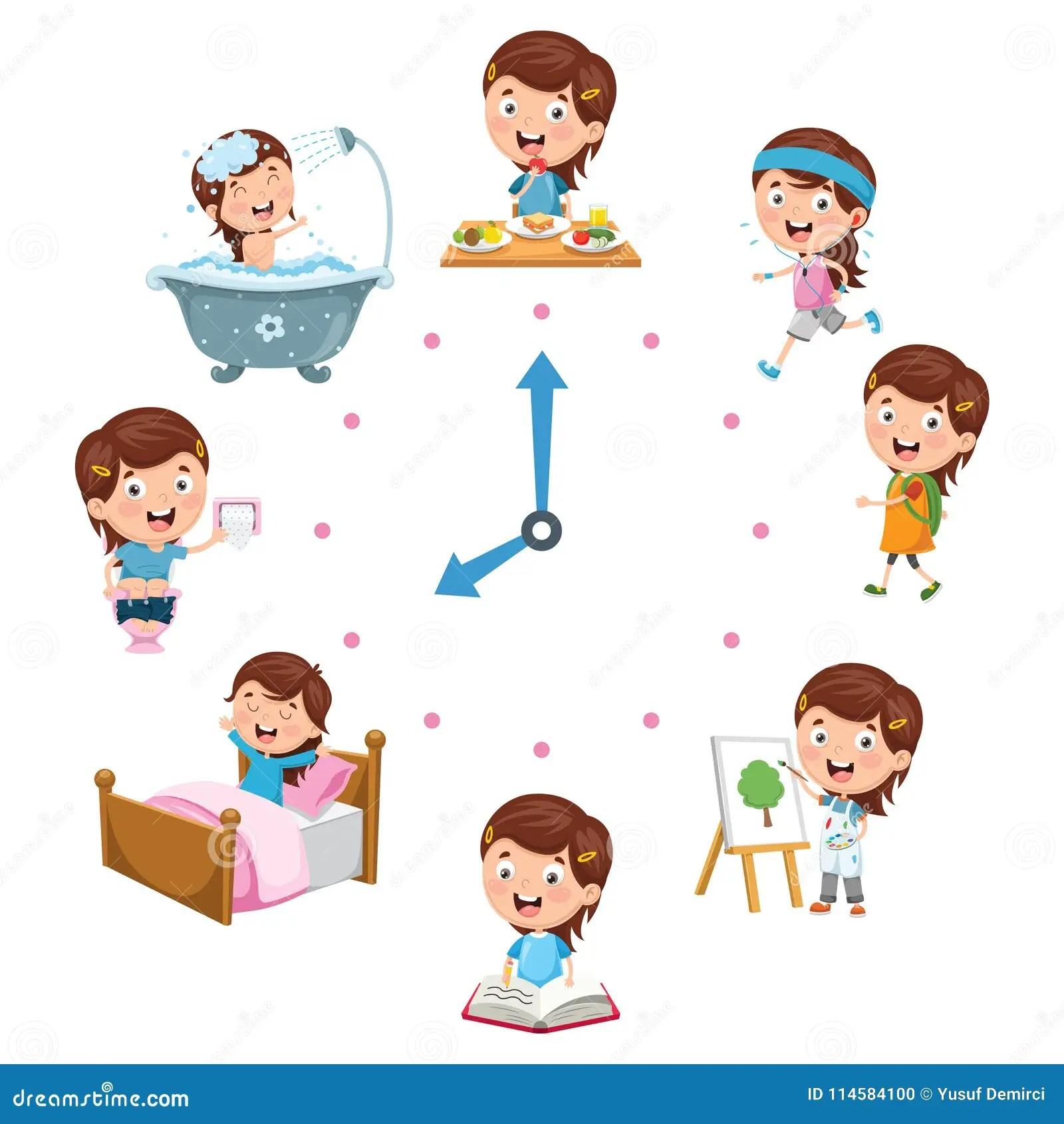 Vector Illustration Of Kids Daily Routine Activities Stock Illustration
