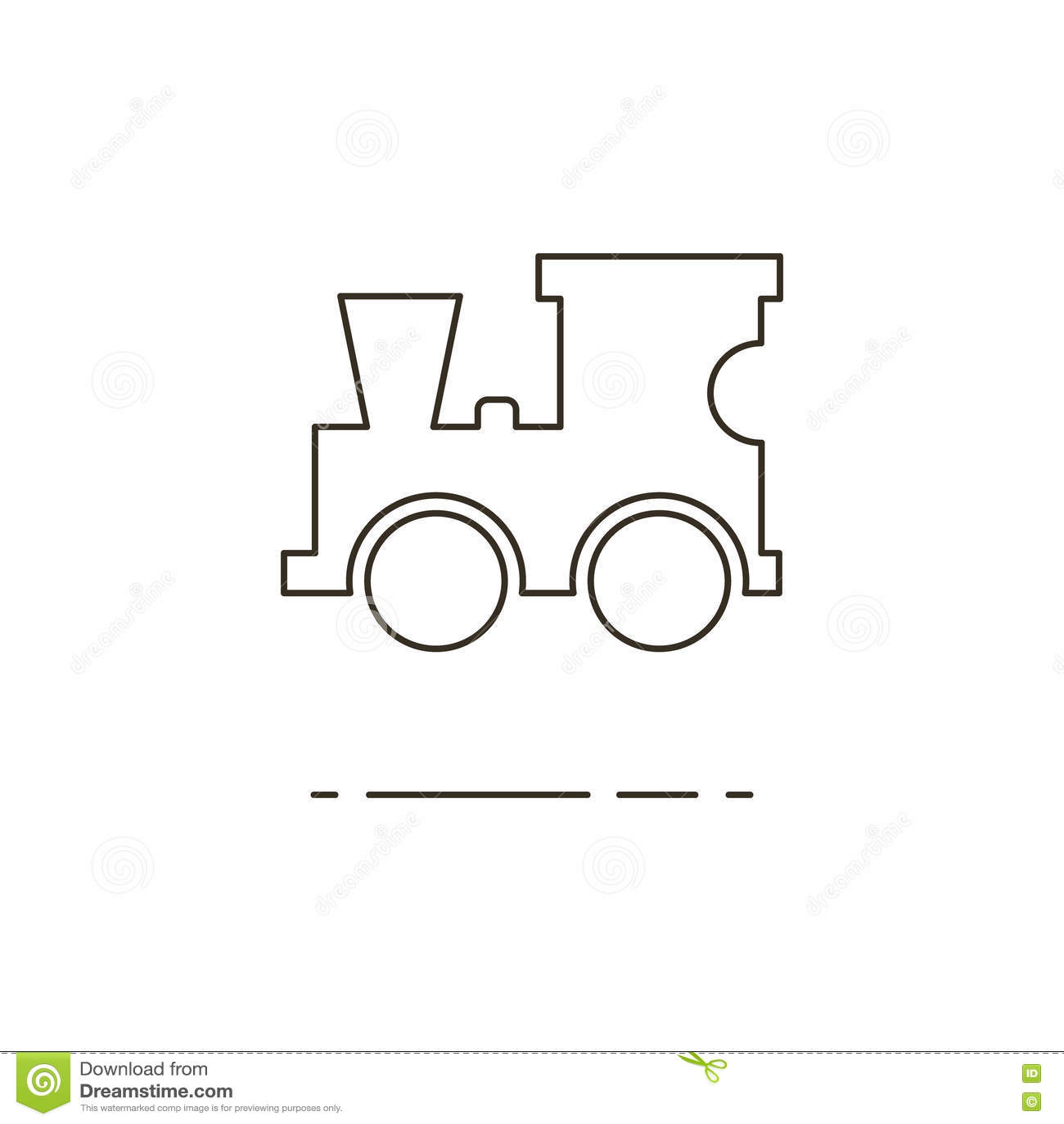 Vector Illustration Of Line Toy Locomotive Icon On White