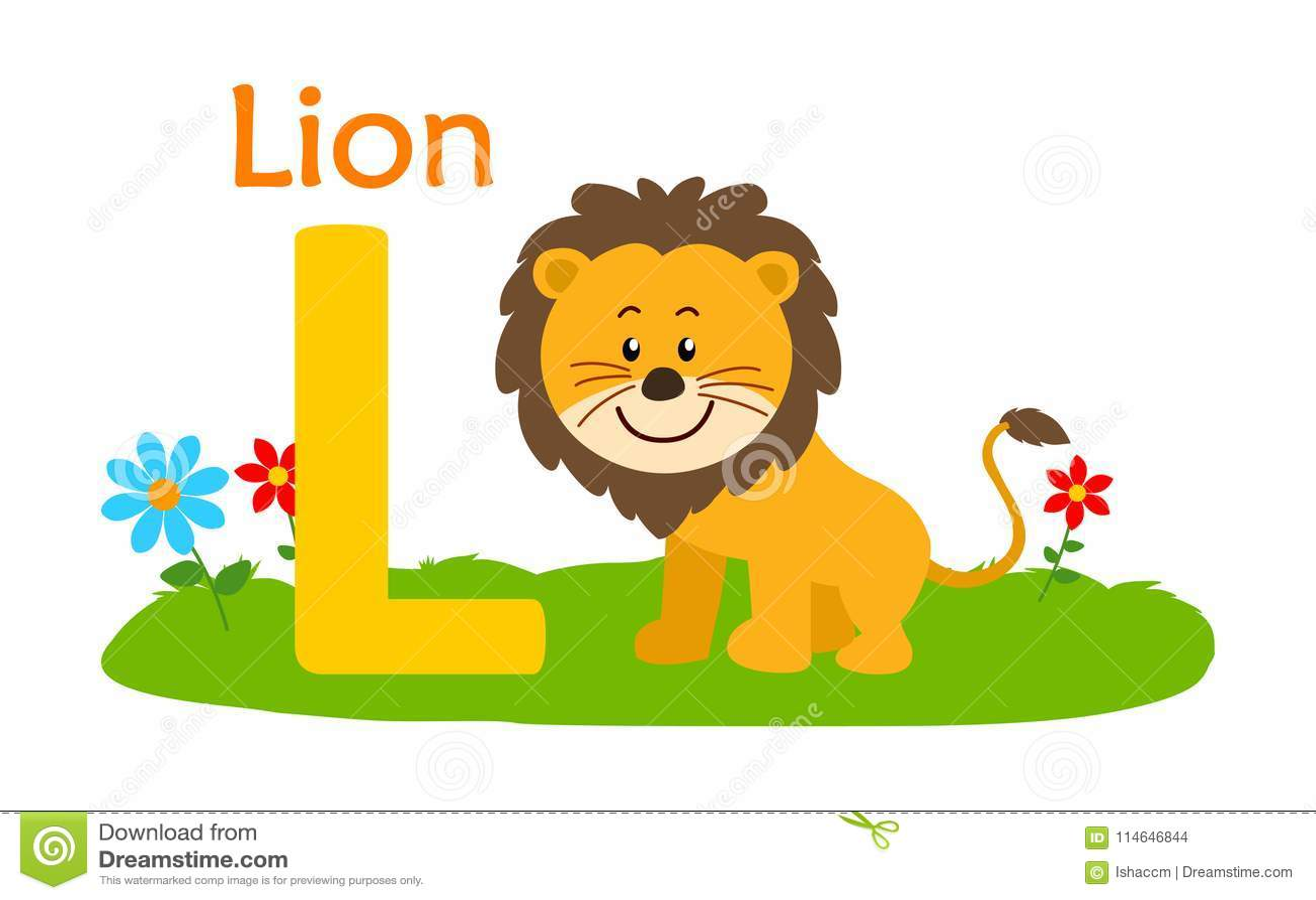 Animal Alphabet L L For Lion Stock Vector