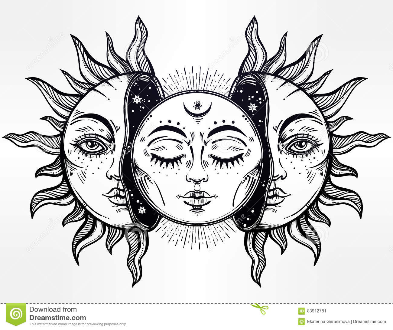 Vector Illustration Of Moon And Sun With Faces Stock