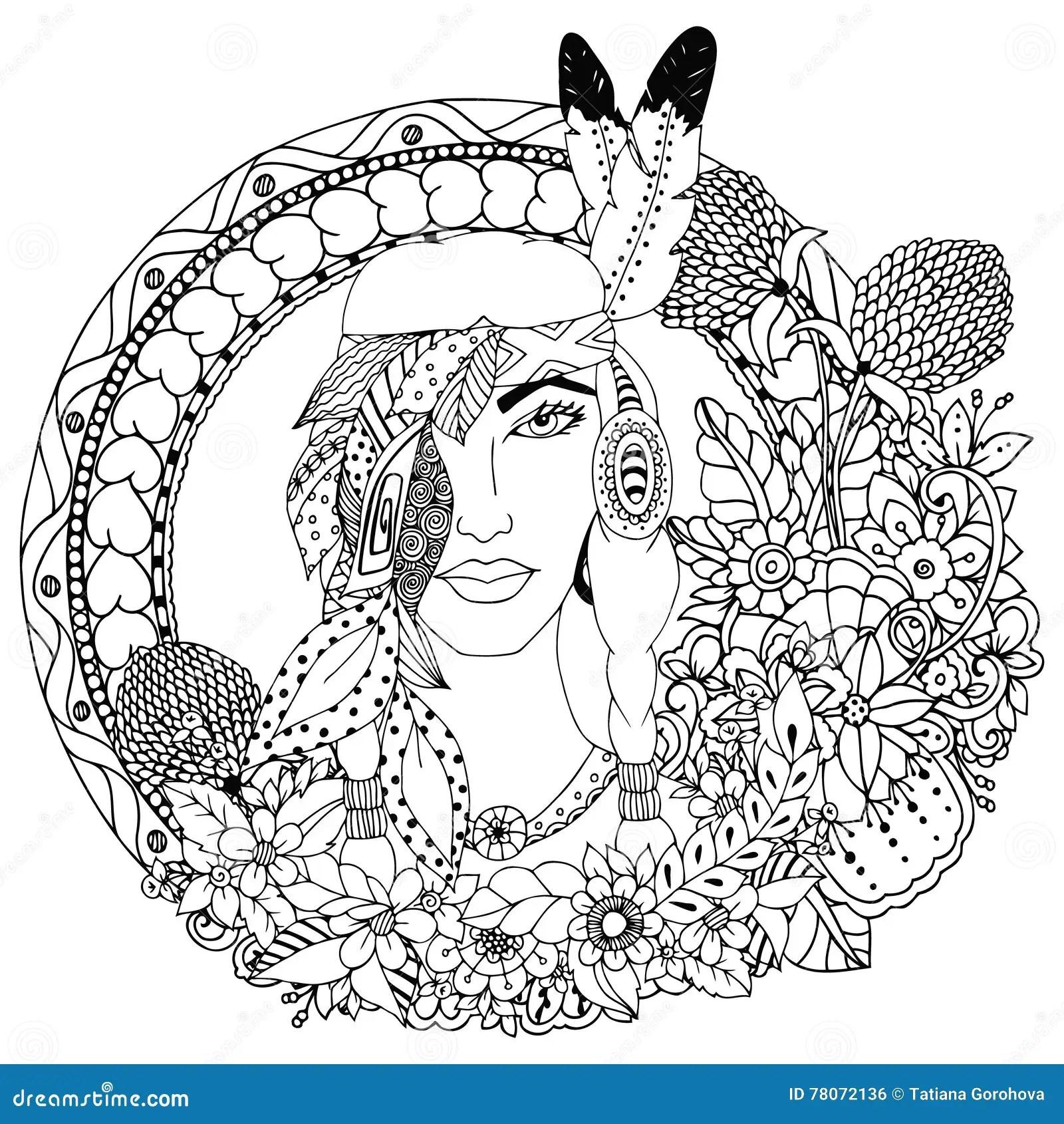 Vector Illustration Native American Girl In Round Frame