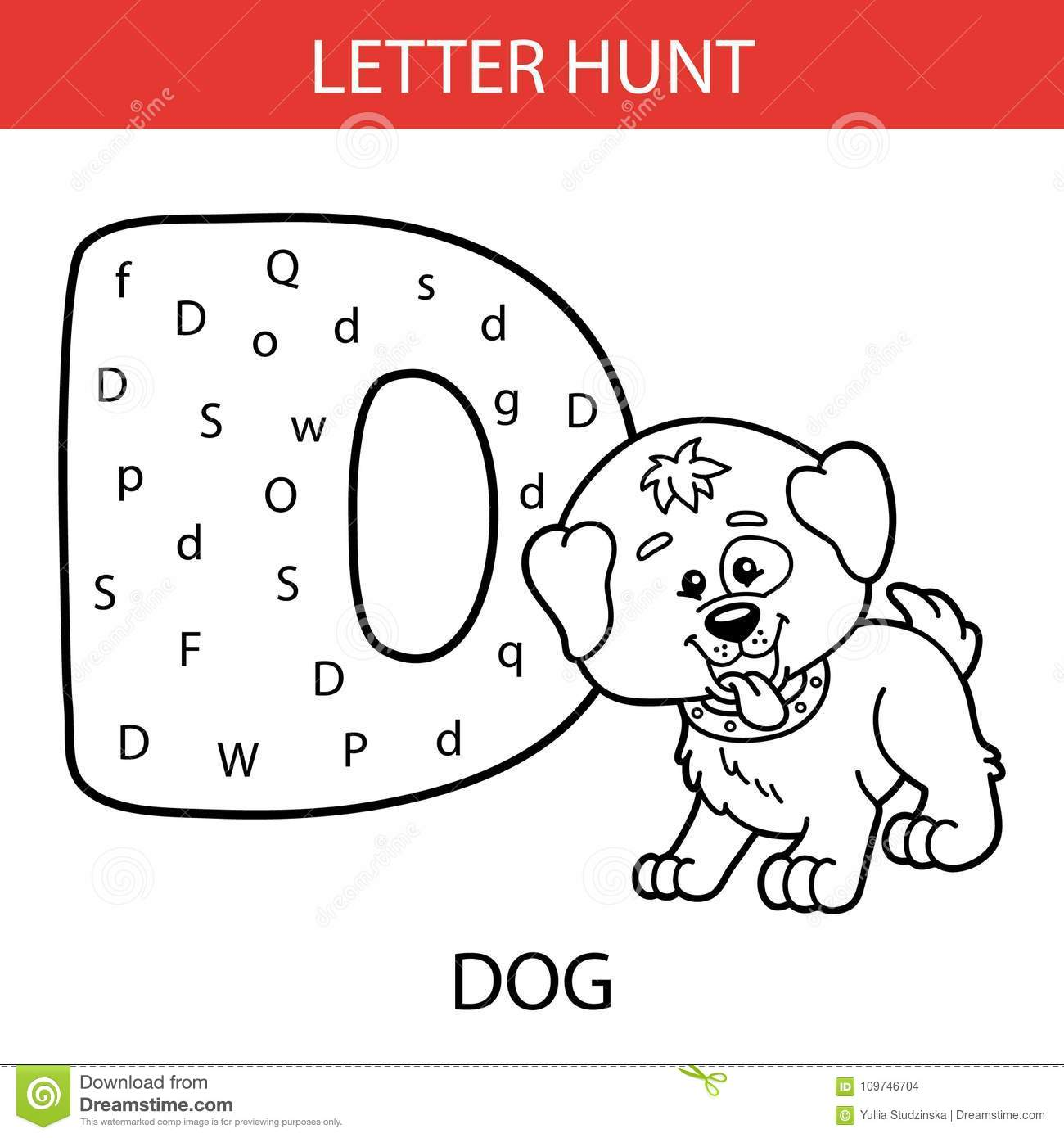 Animal Letter Hunt Dog Stock Vector Illustration Of Hand