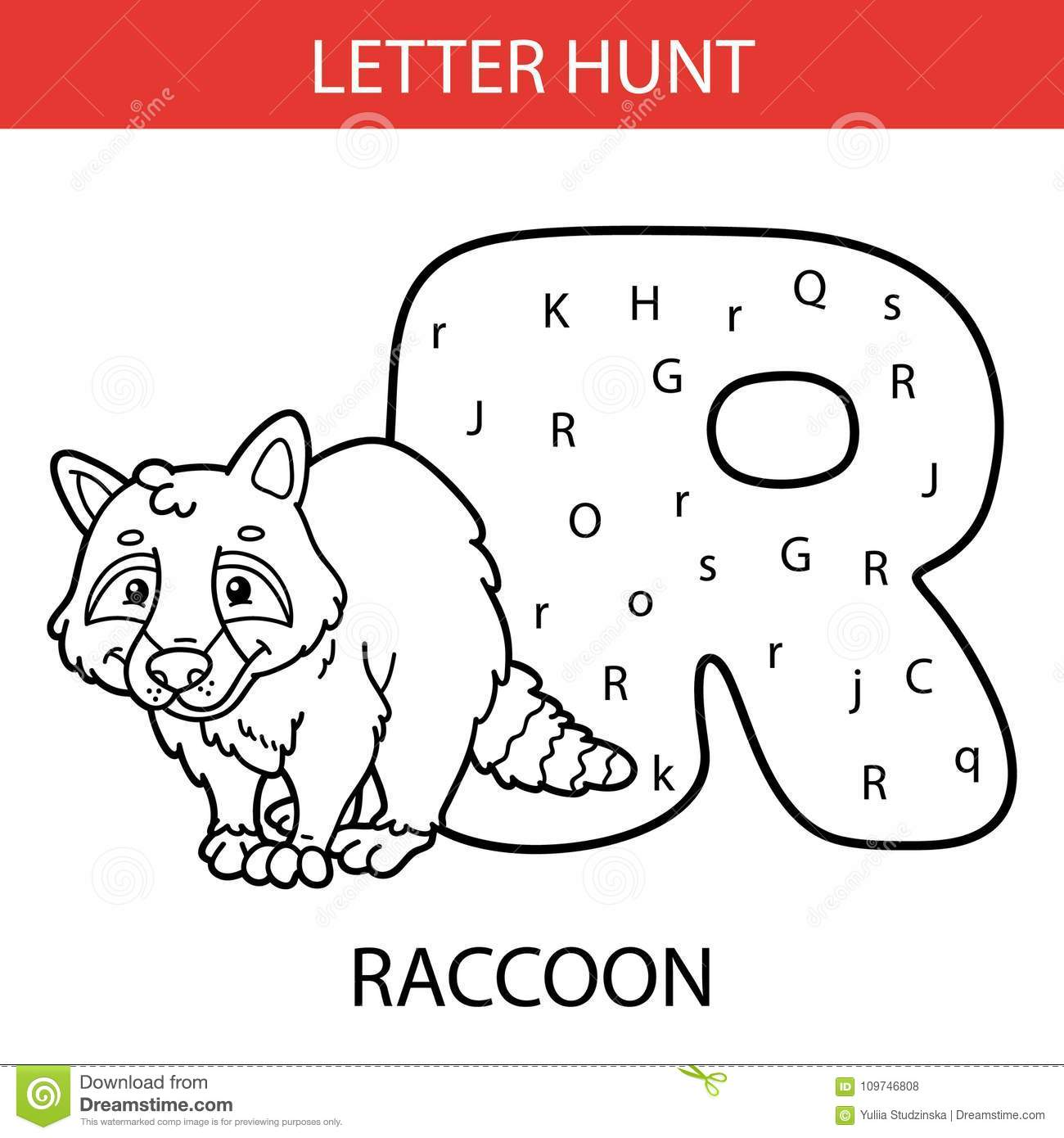 Animal Letter Hunt Raccoon Stock Vector Illustration Of Child