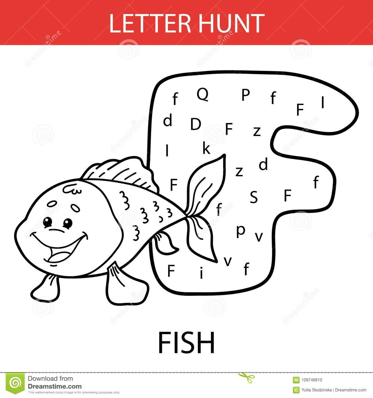 Animal Letter Hunt Fish Stock Vector Illustration Of