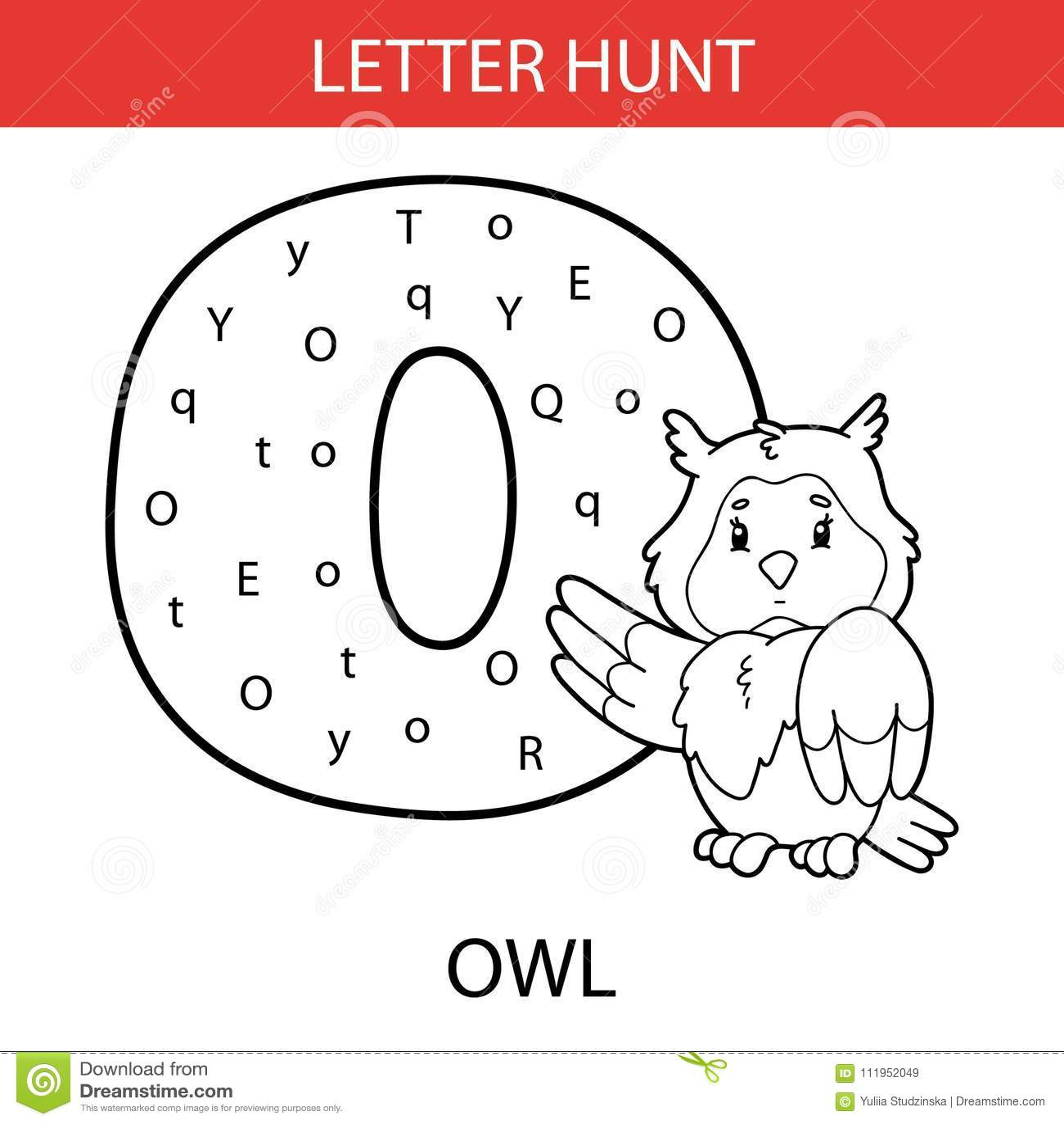 Animal Letter Hunt Owl Stock Vector Illustration Of