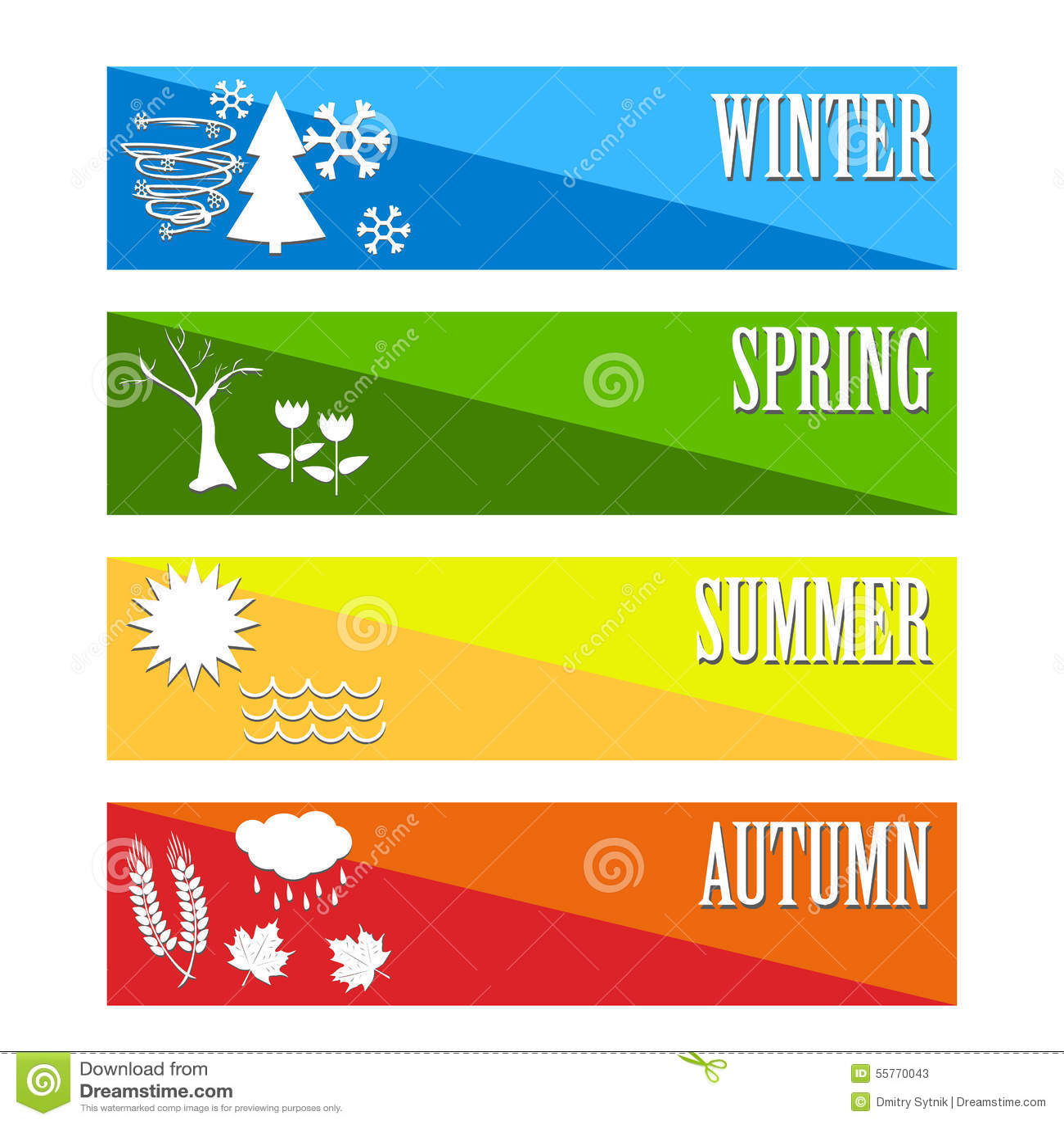Vector Illustration Set Four Seasons Symbol Weather Stock