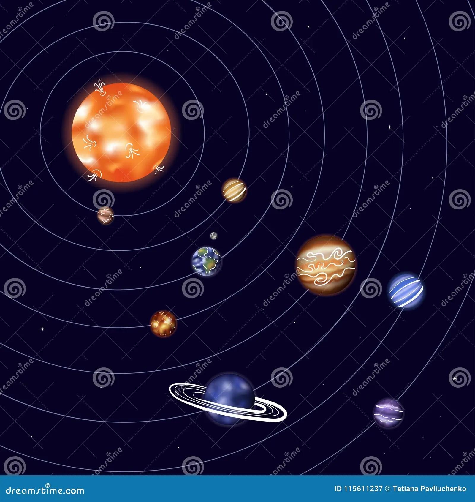 Vector Illustration Of Solar System Stock Vector