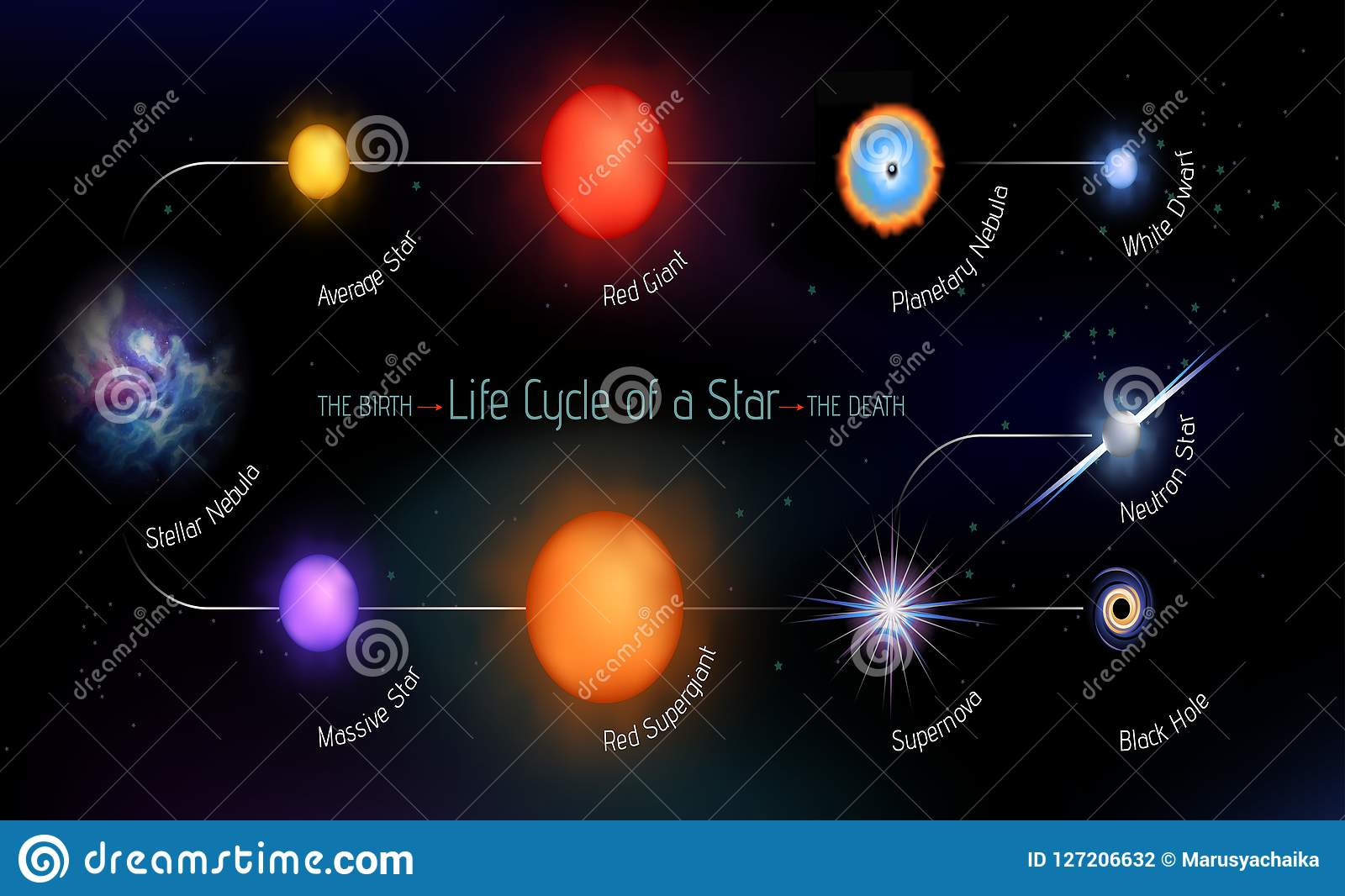 Life Cycle Of A Star Stock Vector Illustration Of Motion