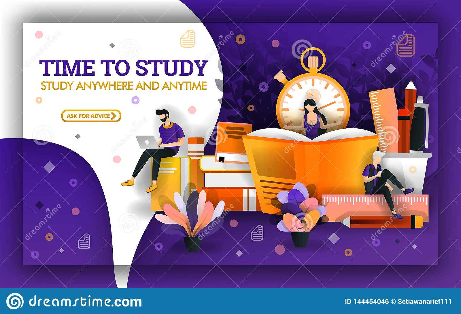 Vector Illustration Of Study Time Education Current