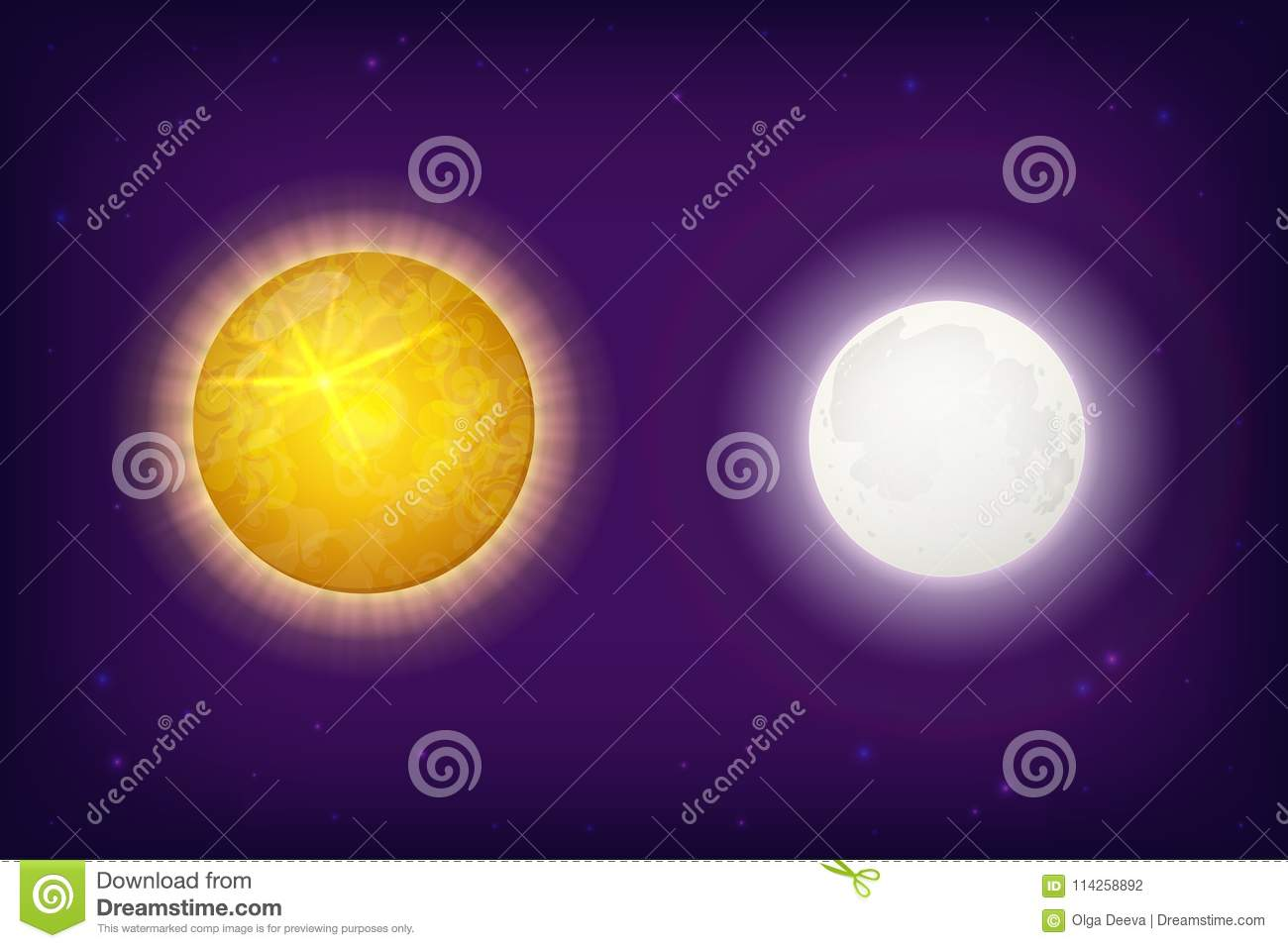 Sun And Moon Planets On Background With Stars Stock Vector