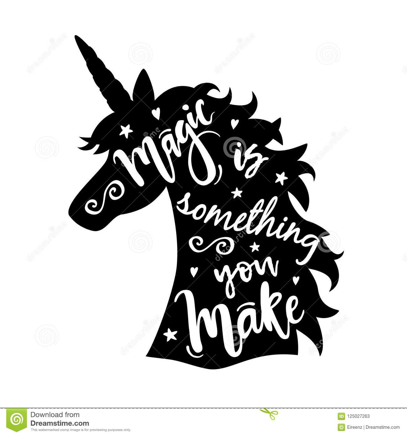 Vector Illustration Of Unicorn Head Silhouette With Magic