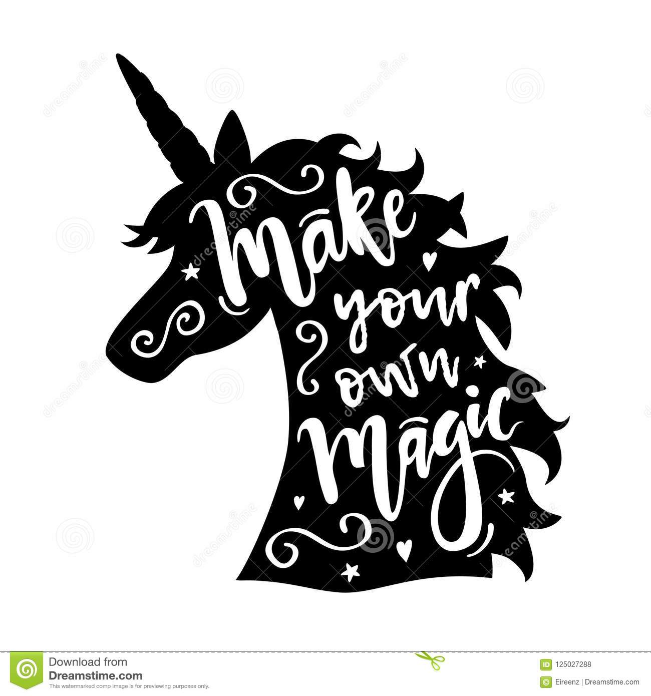 Vector Illustration Of Unicorn Head Silhouette With Make