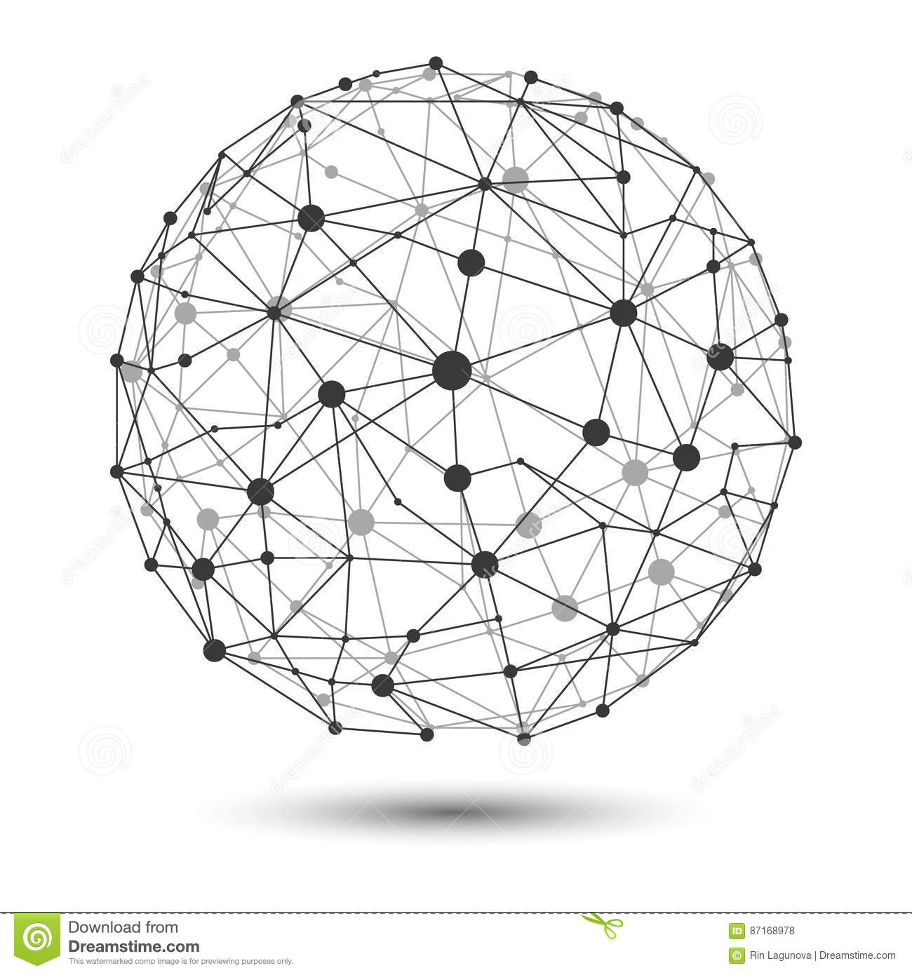 Vector Illustration Wire Frame Connecting Globe Network