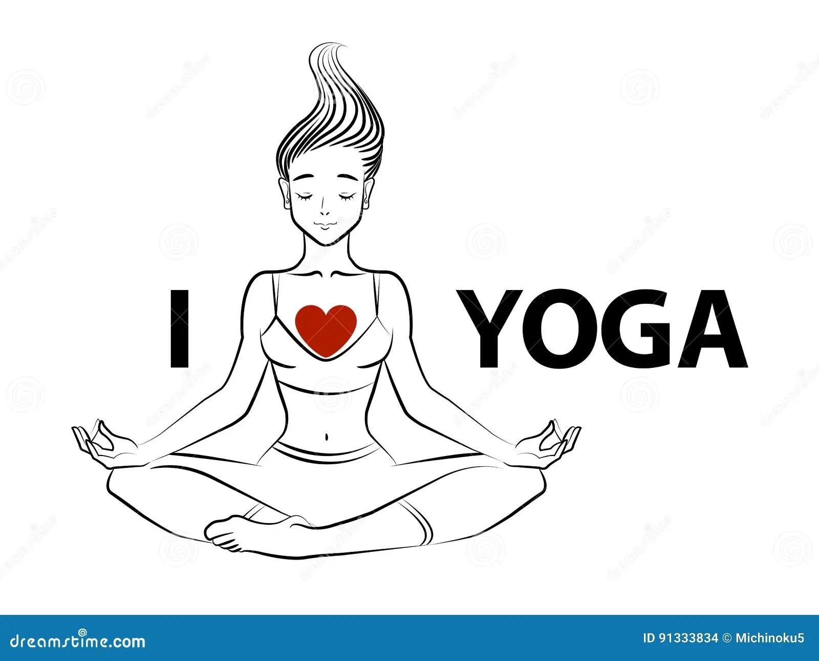Love Yoga Vector Cartoon Vector