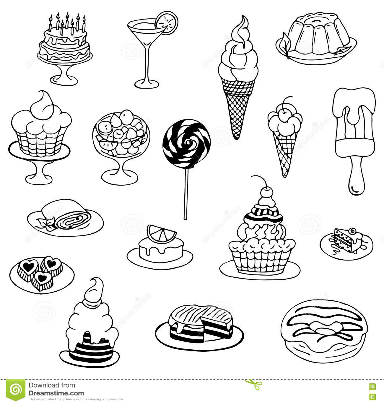 Vector Illustration Zentangl Doodle Cake Dessert