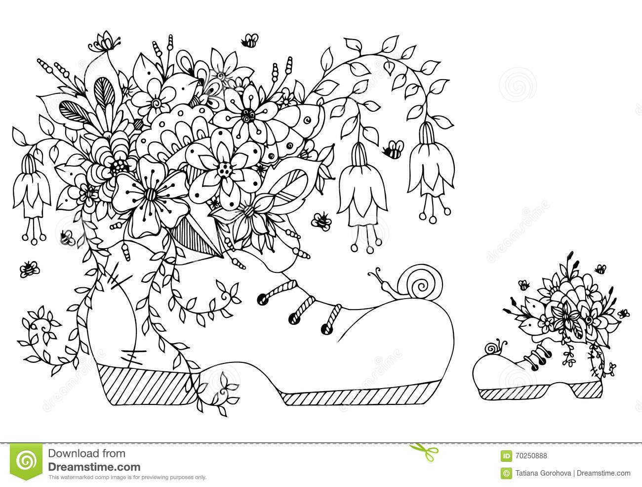 Vector Illustration Zentangl Shoe With Flowers Doodles Art Spring Flowering Summer Butterfly