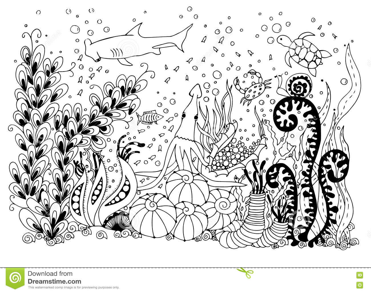 Vector Illustration Zentangle Underwater World Stock