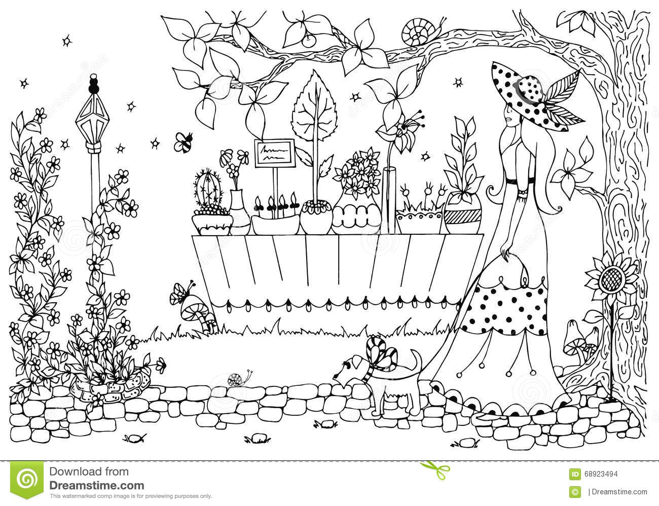 Vector Illustration Zentangle Woman With Dog Lady For A Walk Flower Shop Doodle Flowers Anti