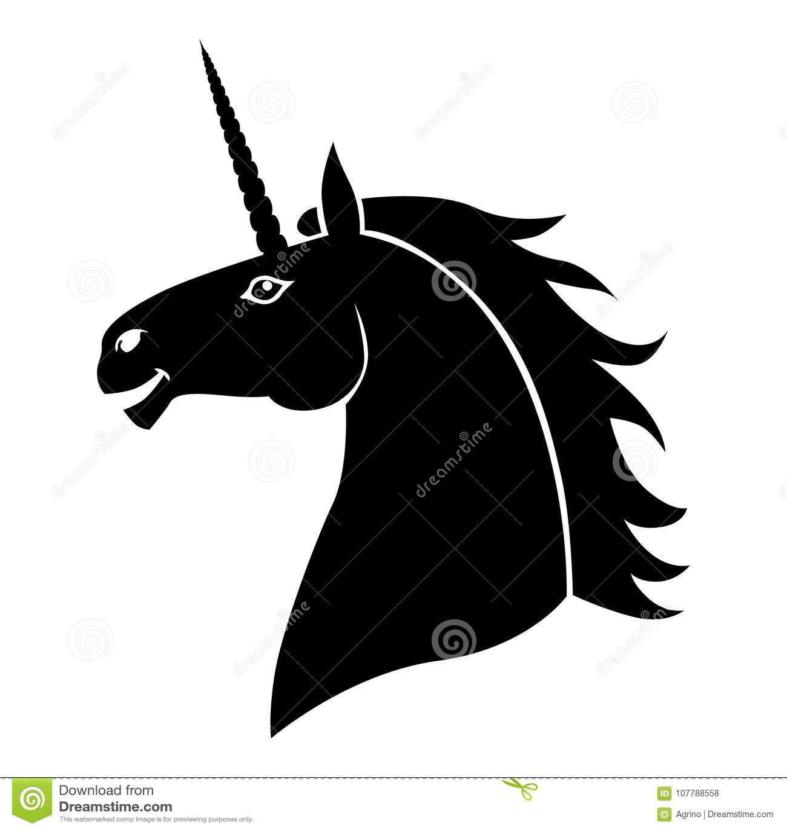 Silhouette Head Mycology Fun Unicorn Stock Vector