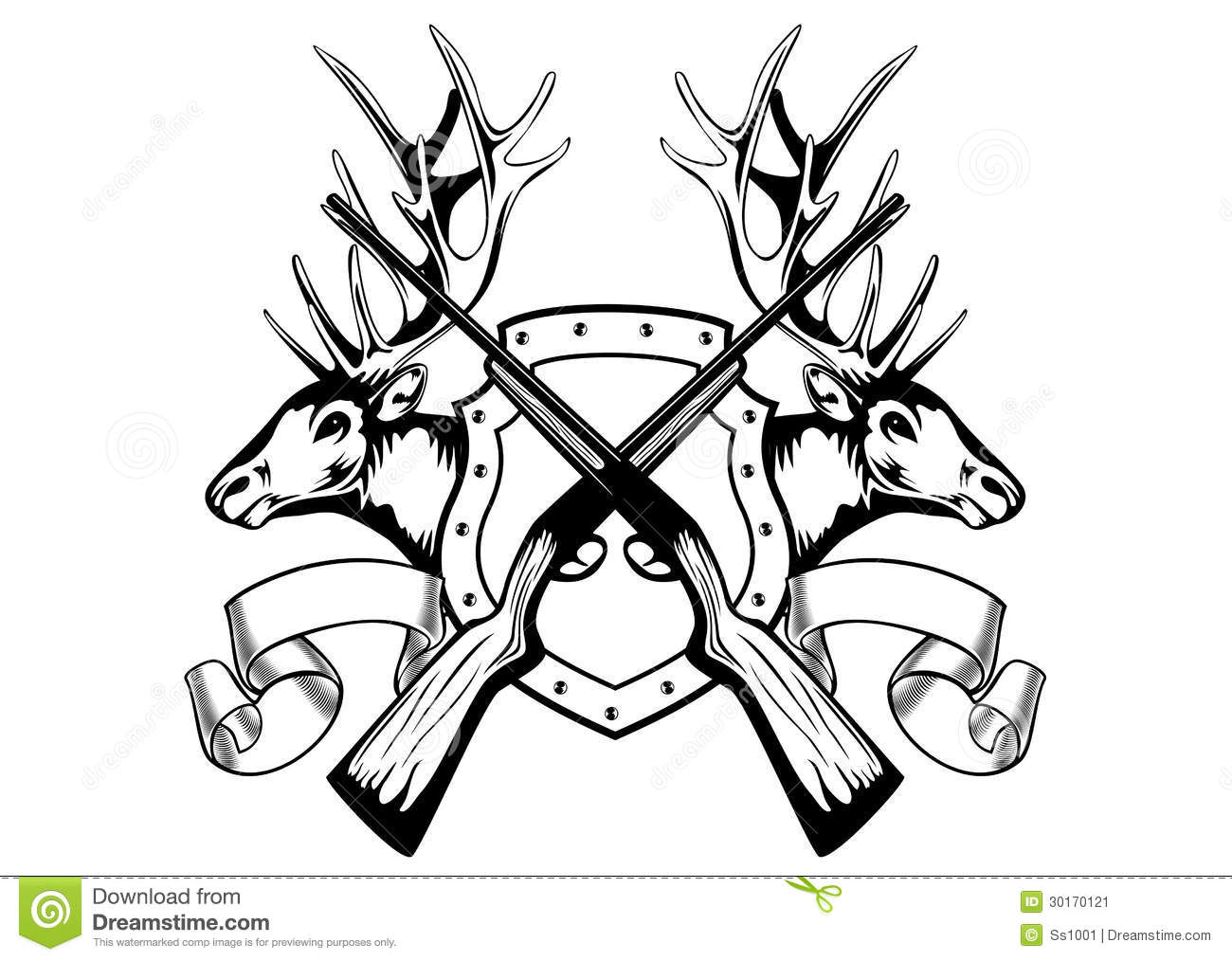Elk Heads And Crossed Rifle Stock Vector
