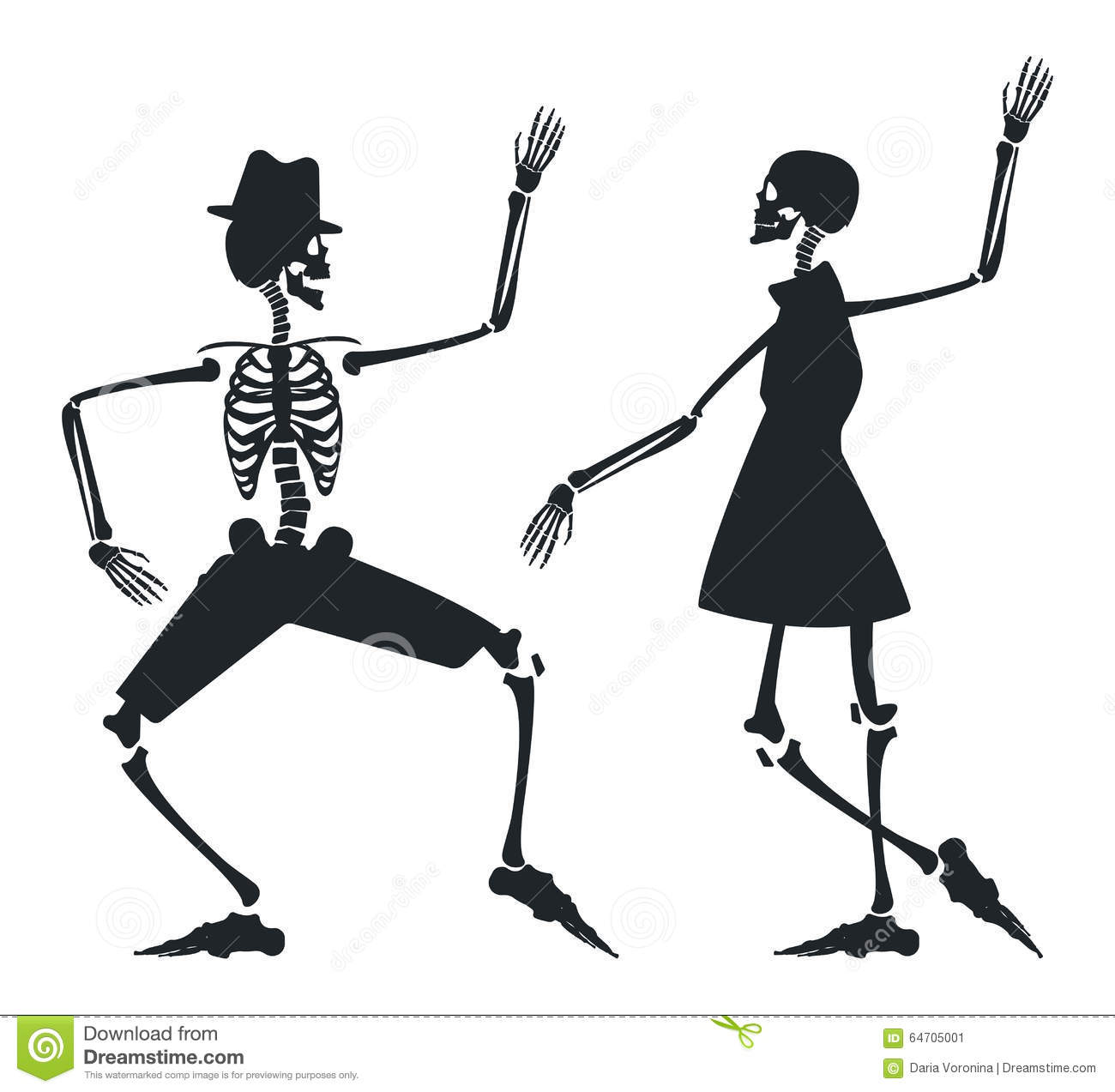 Vector Image With Couple Silhouette Of Skeleton Stock