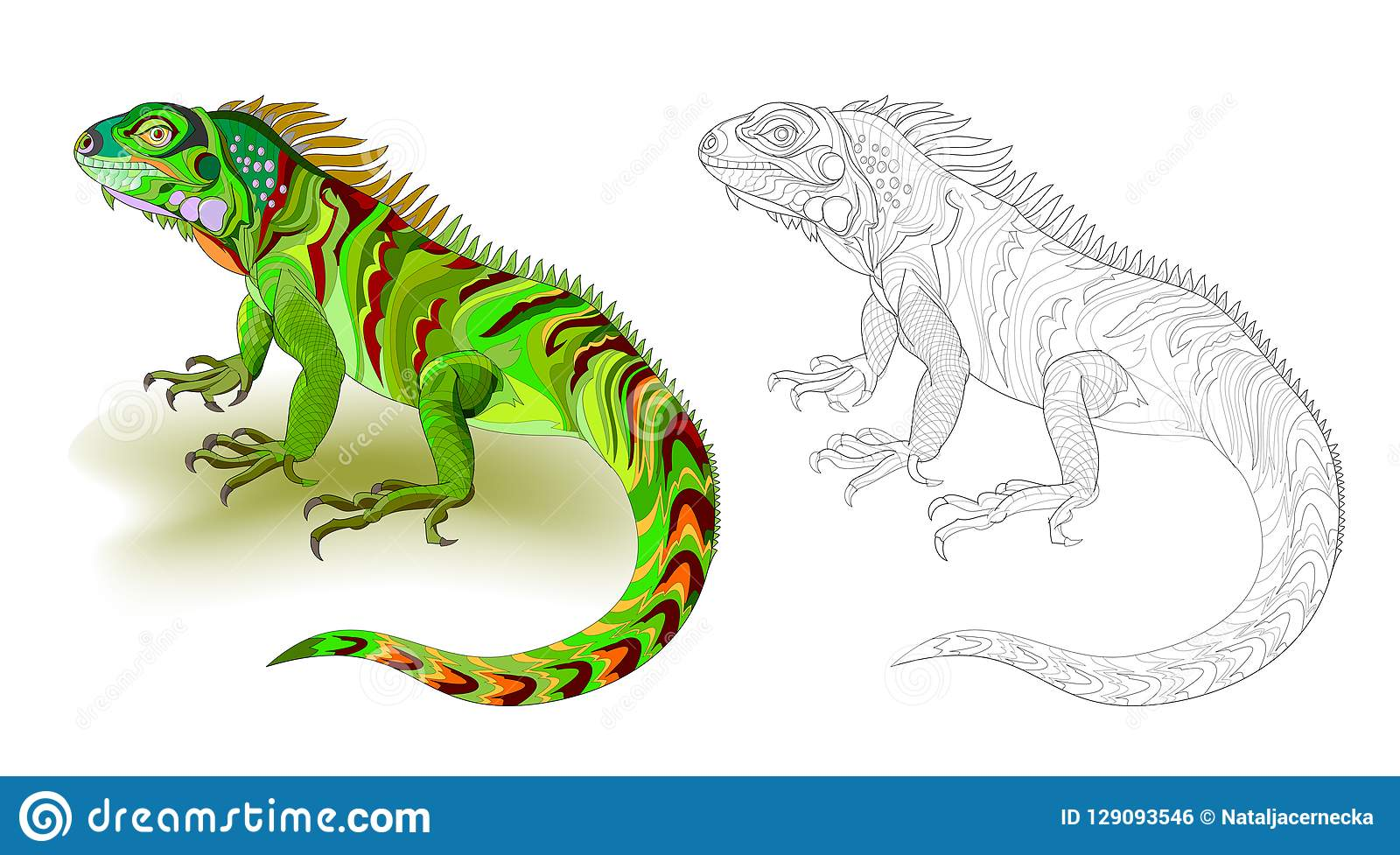 Fantasy Illustration Of Cute Green Lizard Iguana Colorful