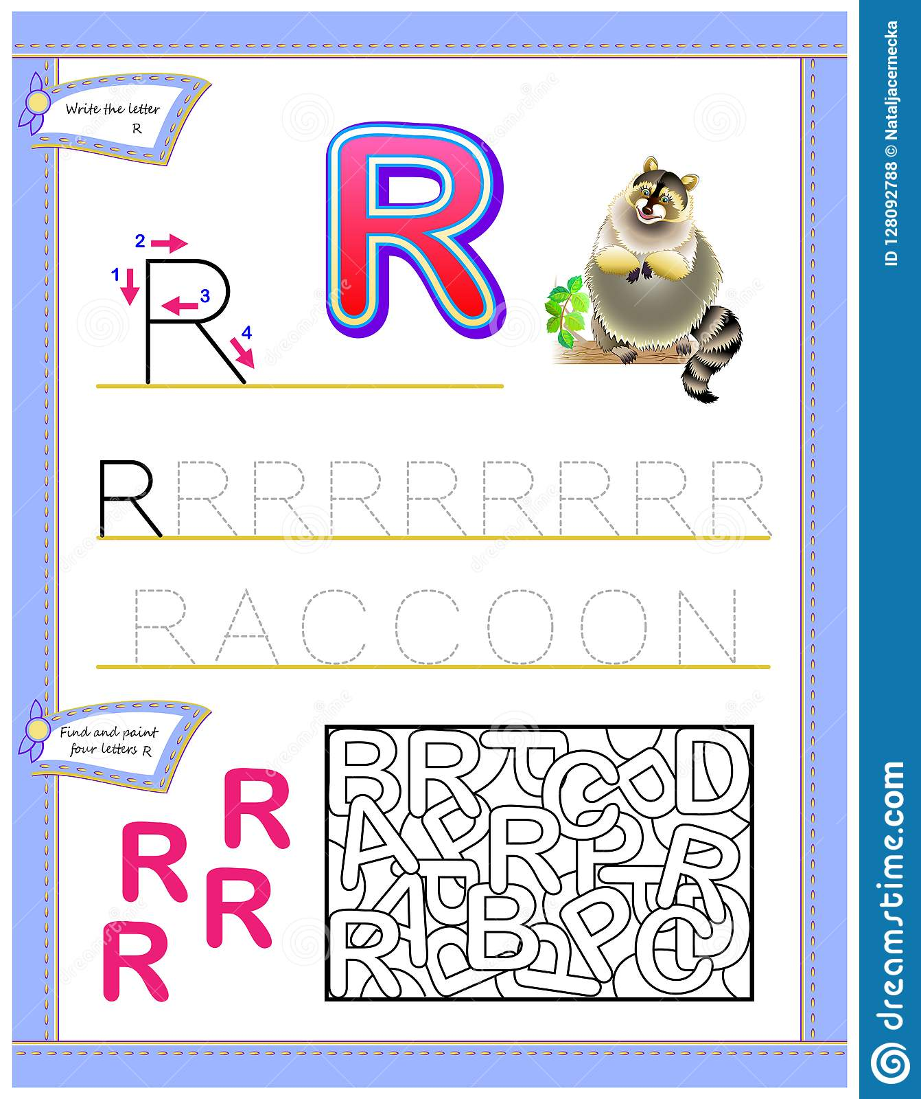Worksheet For Kids With Letter R For Study English