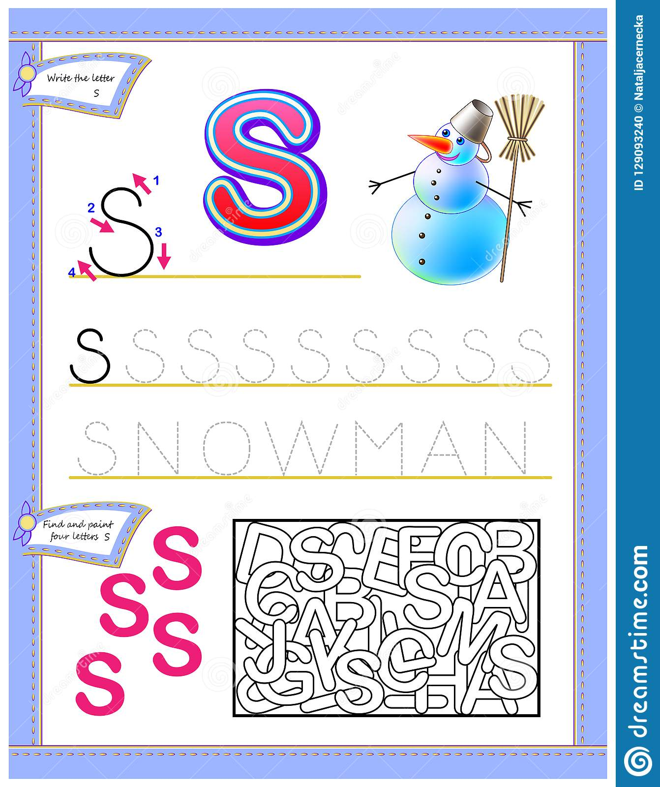 Worksheet For Kids With Letter S For Study English