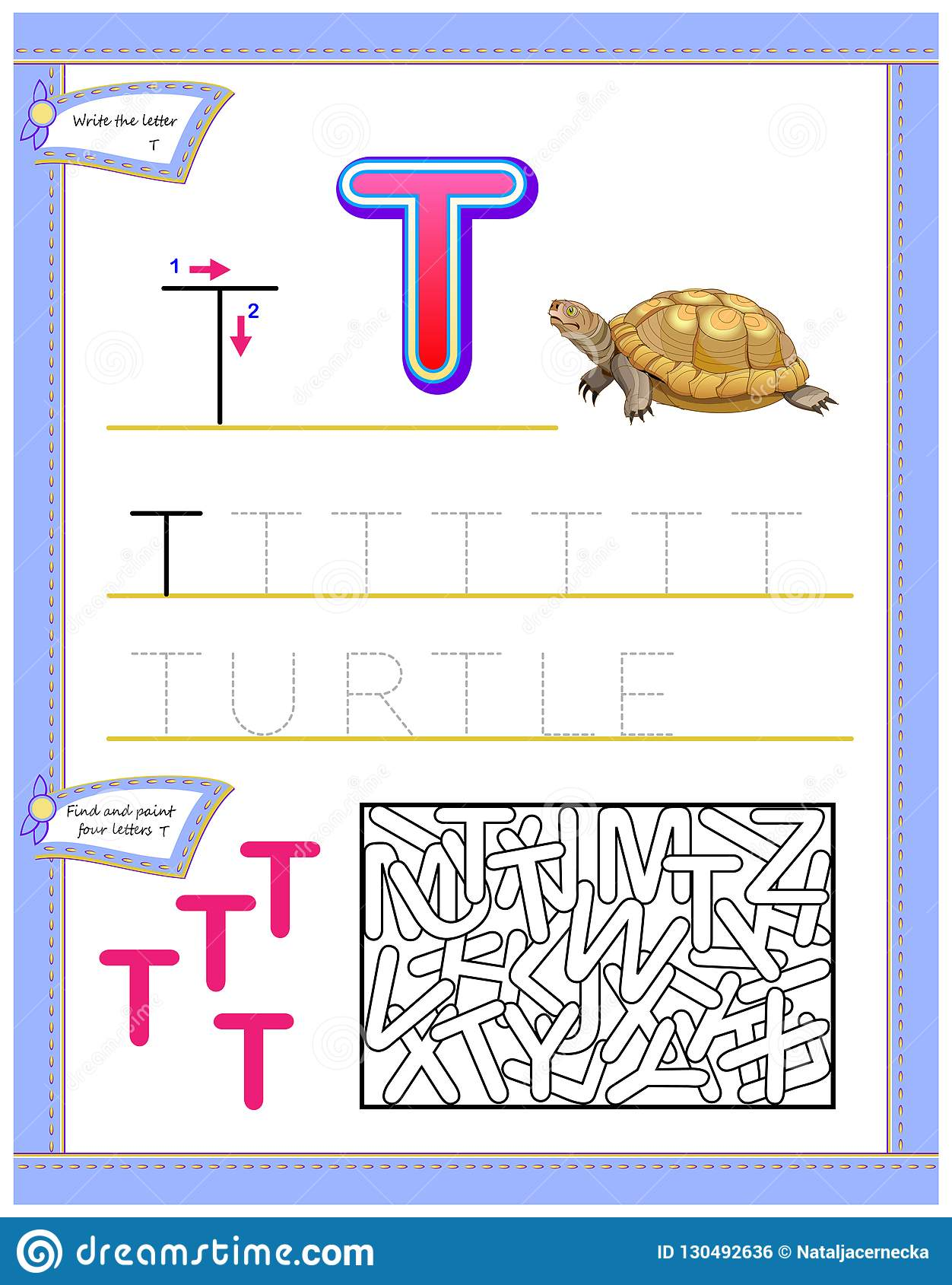 Worksheet For Kids With Letter T For Study English