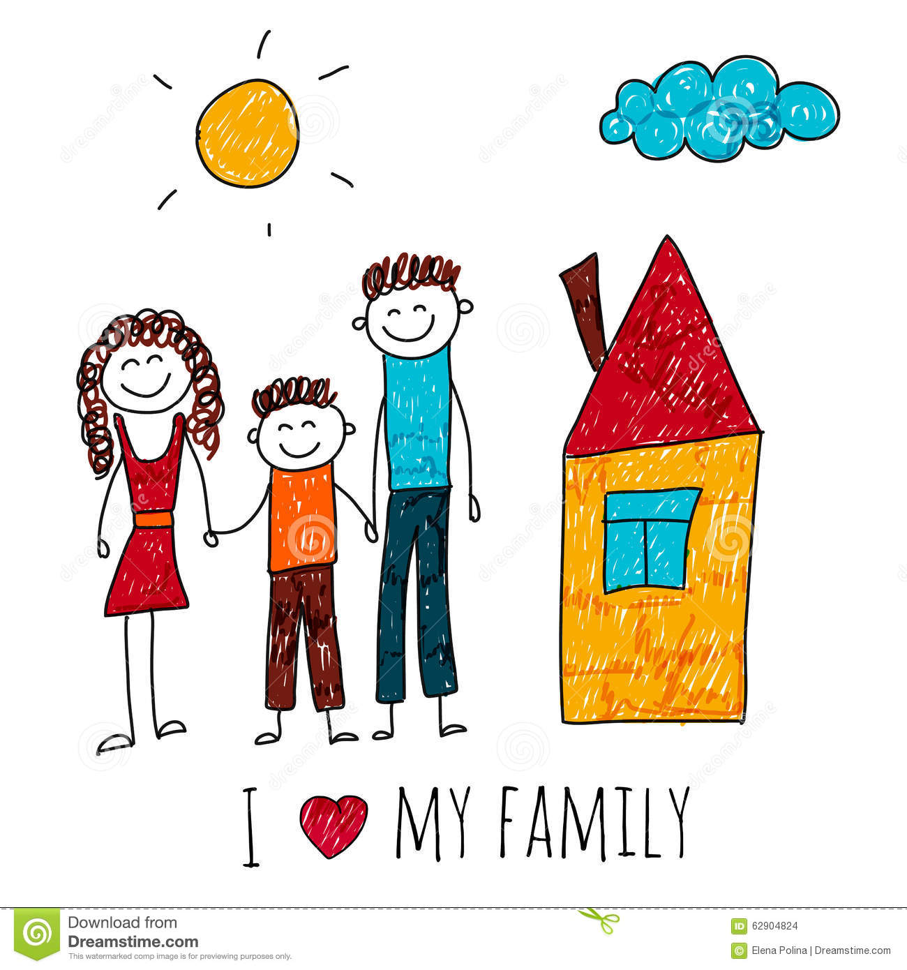 Vector Image Of Happy Family With House Stock Vector