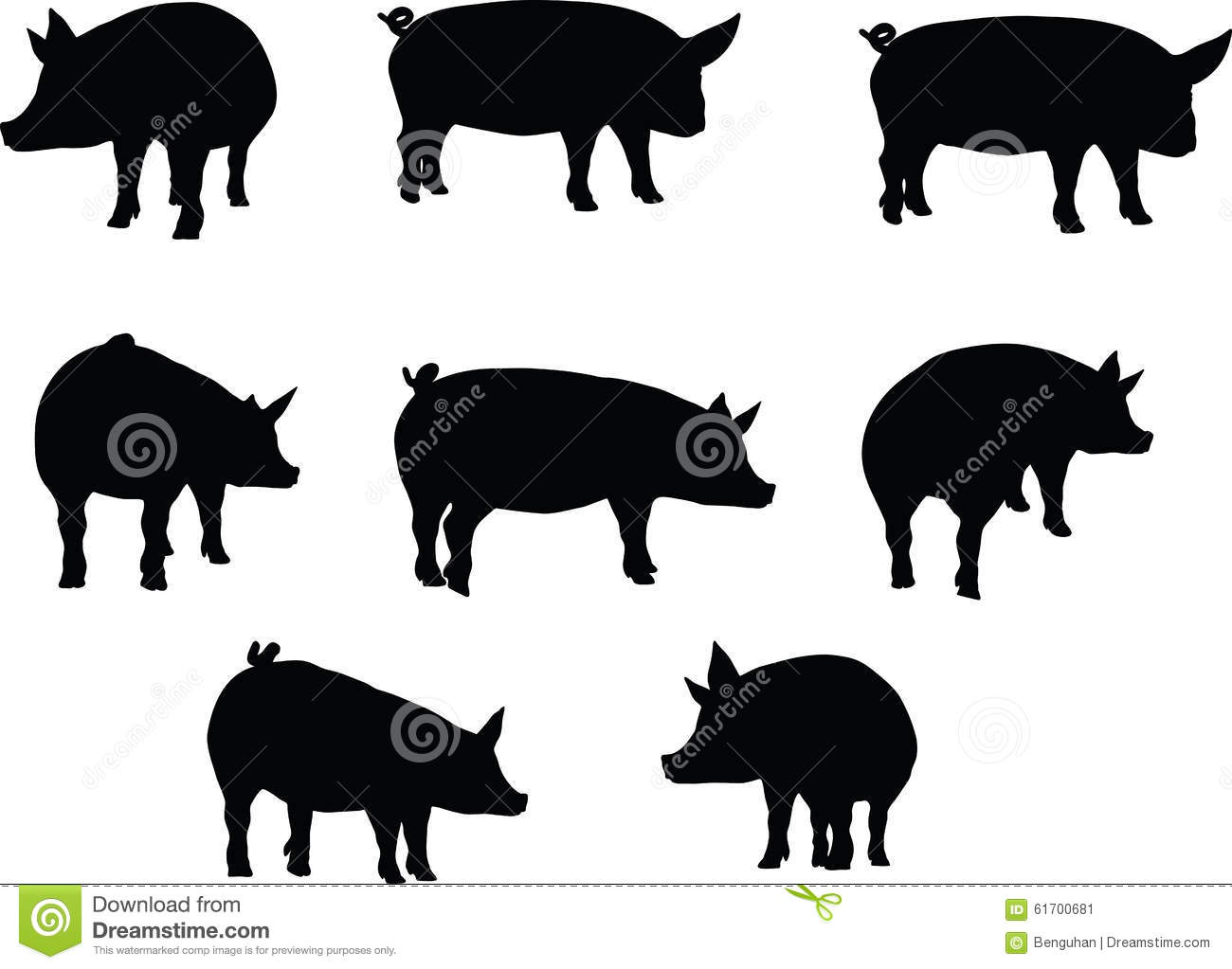 Vector Image Pig Silhouette In A Standing Position
