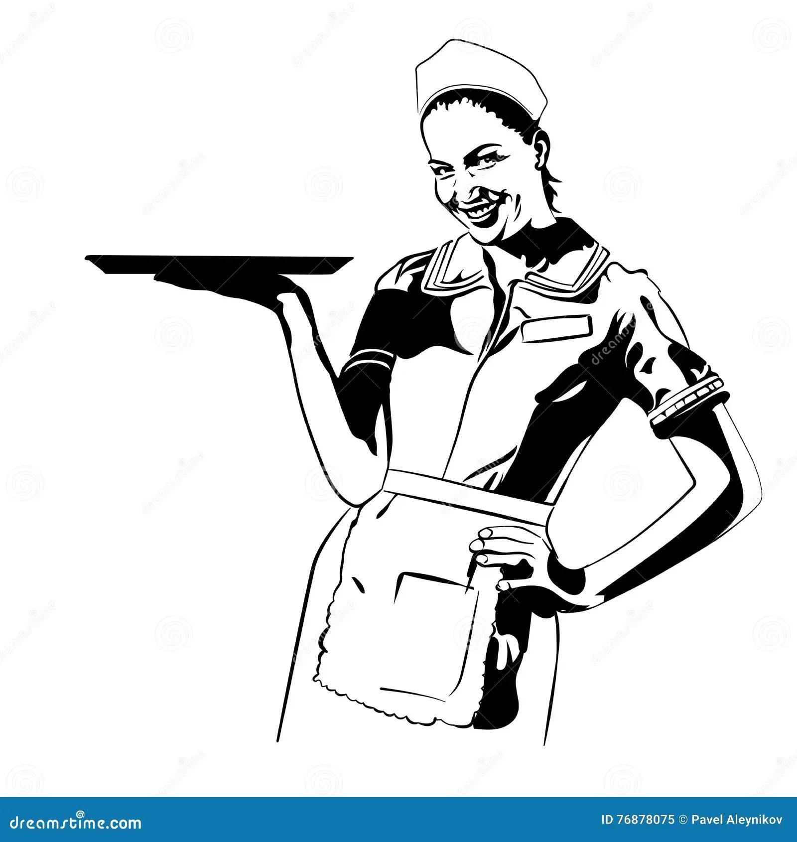 Vector Image Retro Diner Waitress Halftone Dots Background