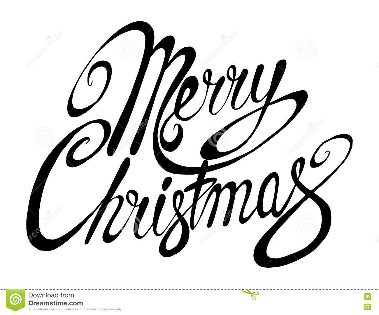 Vector Inscription Merry Christmas Cover Title Drawing
