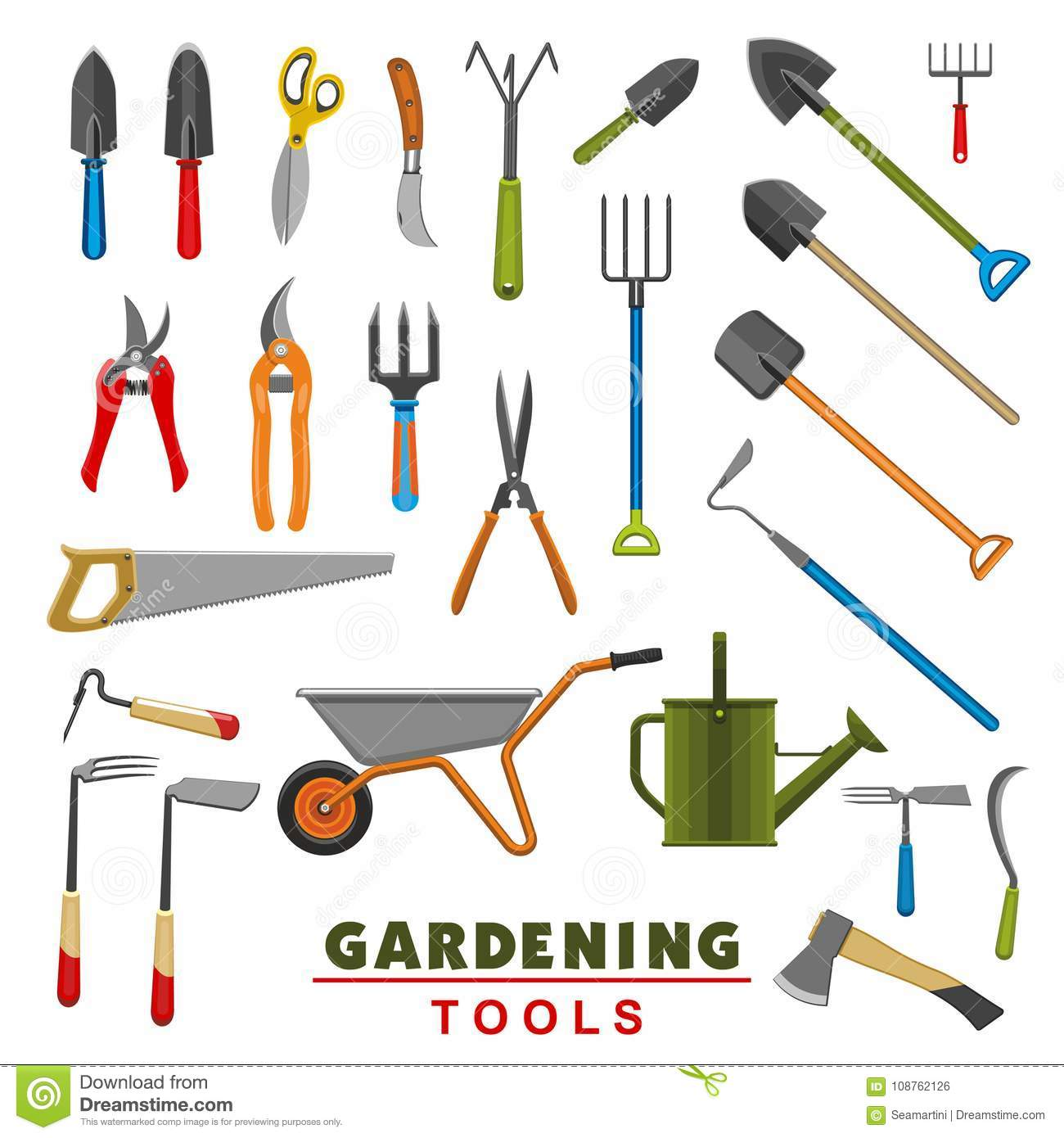 Vector Isolated Icons Of Farm Gardening Tools Stock Vector
