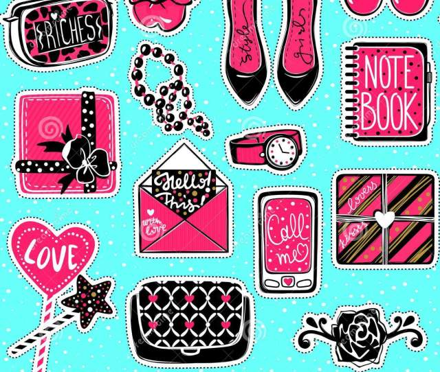 Vector Kit Of Contemporary Patches High Heelsgift Box Phoneh