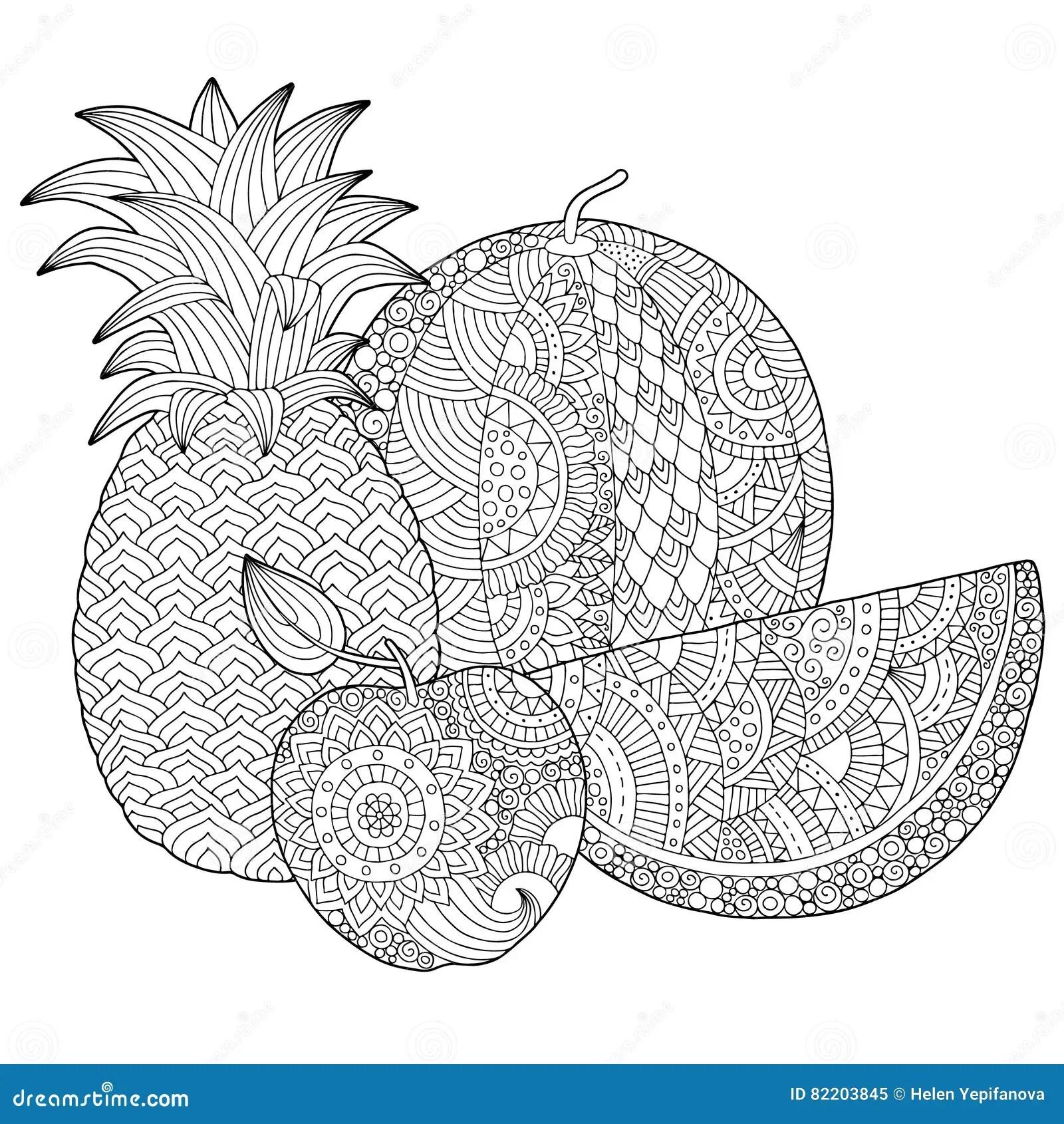 Vector L Ananas Disegnato A Mano L Anguria Illustrazione