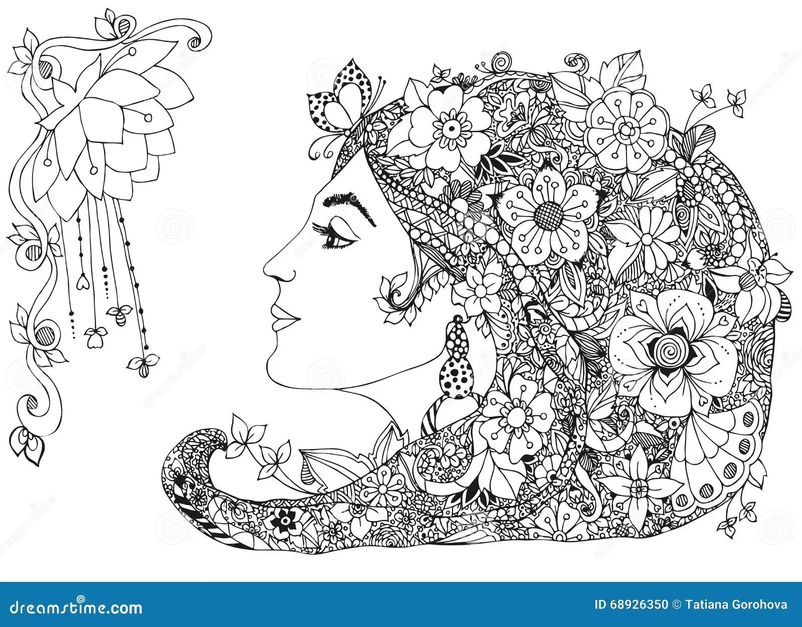 Vector L Illustrazione Della Ragazza Di Profilo Con I