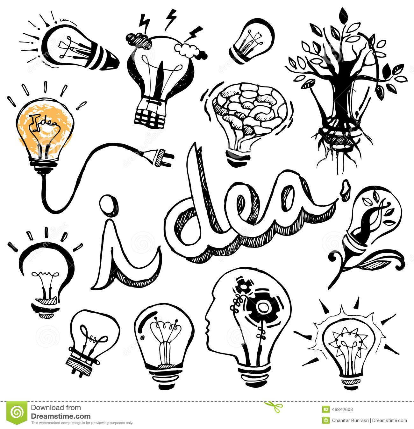 Vector Light Bulb Hand Drawn Cartoon Vector
