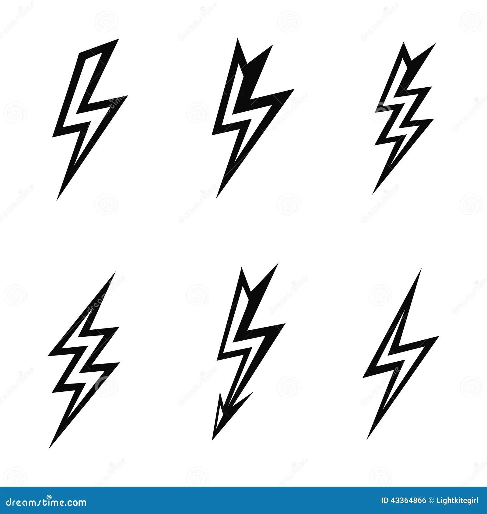 Vector Lightning Silhouettes On White Background Stock