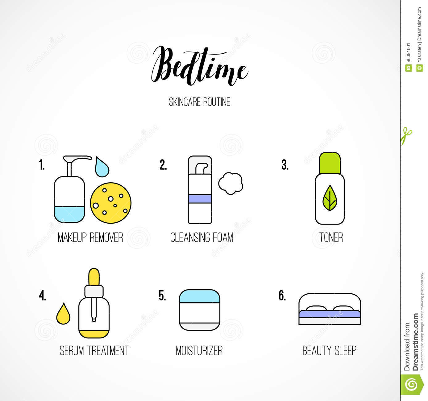 Vector Line Art Night Time Skincare Routine Icons Stock