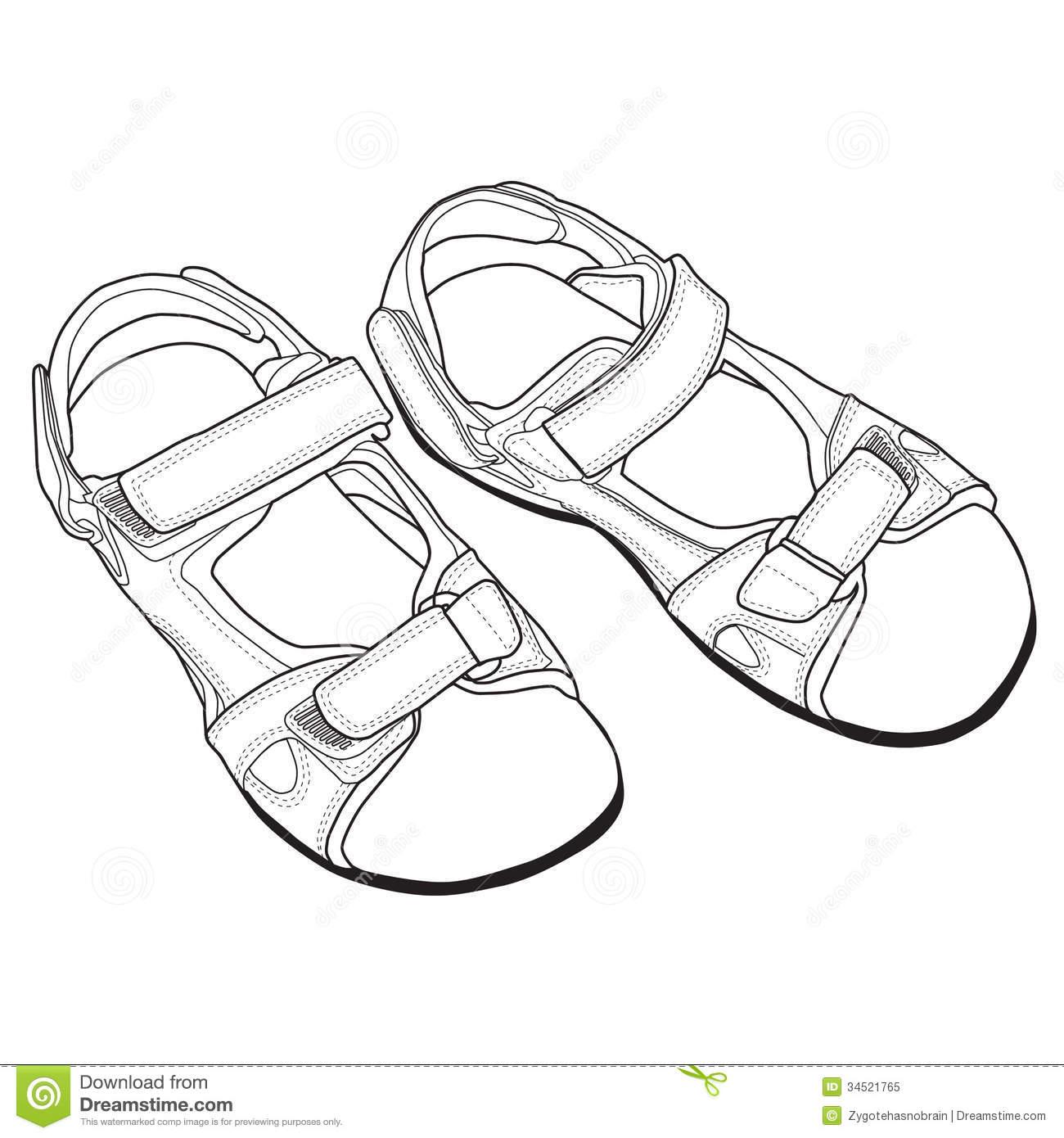 Vector Line Art Of Sandals Royalty Free Stock Photo