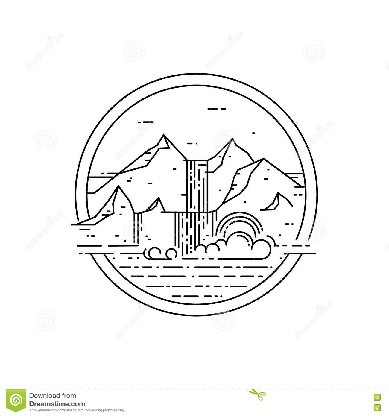 Vector Line Emblem With Mountain Landscape And Waterfall