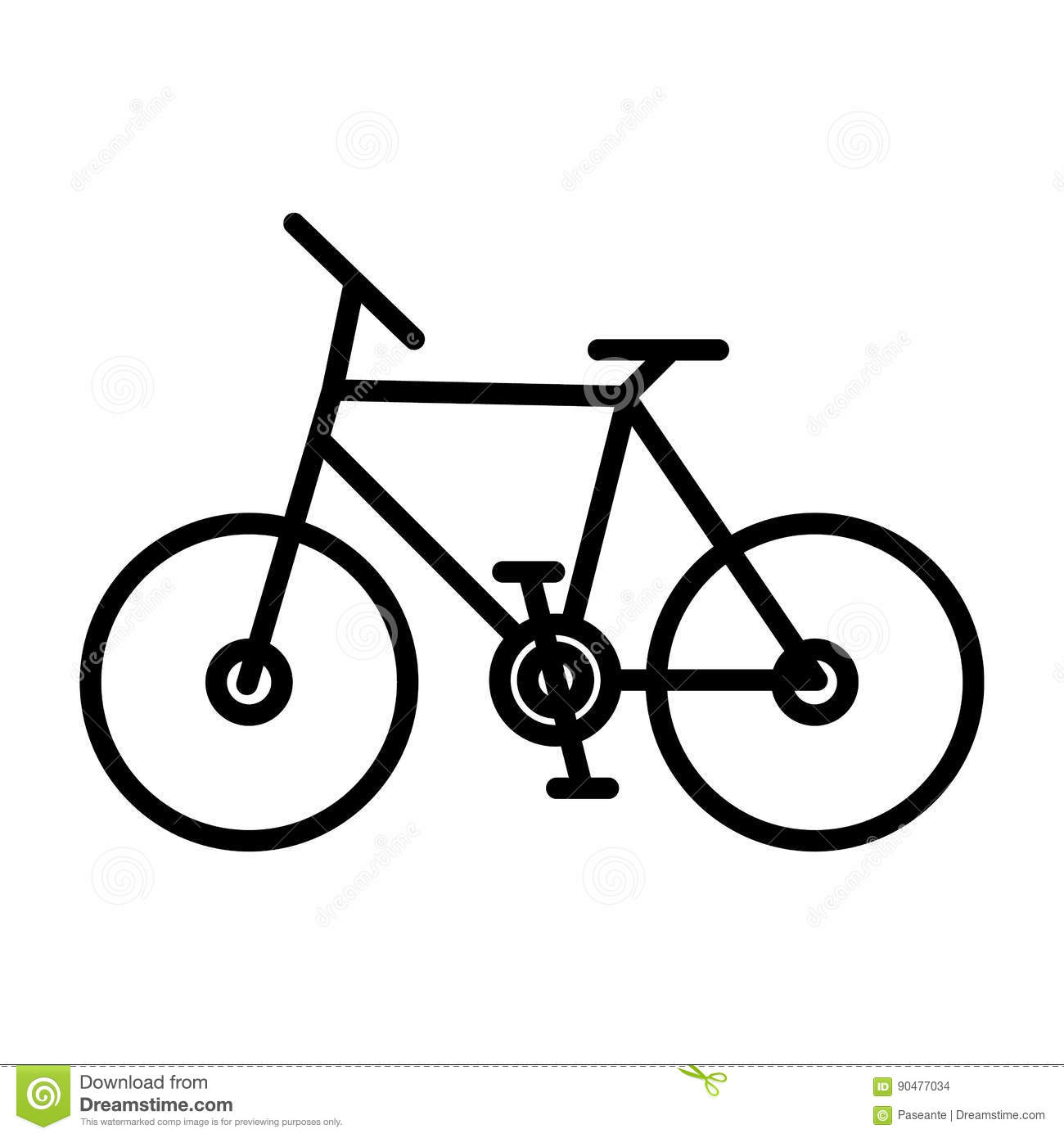 Vector Linear Image Of A Black Contour Of A Simple Bicycle